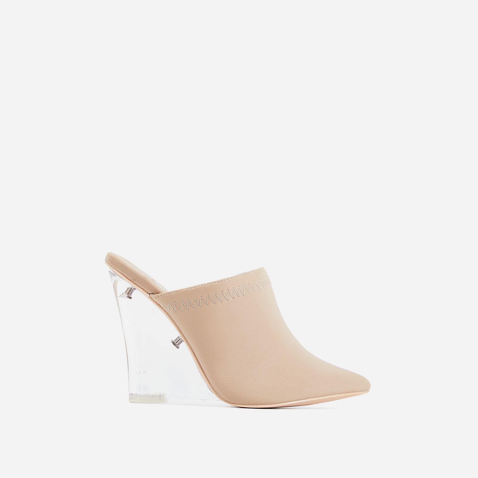 Dear Perspex Wedge Heel Mule In Nude Lycra