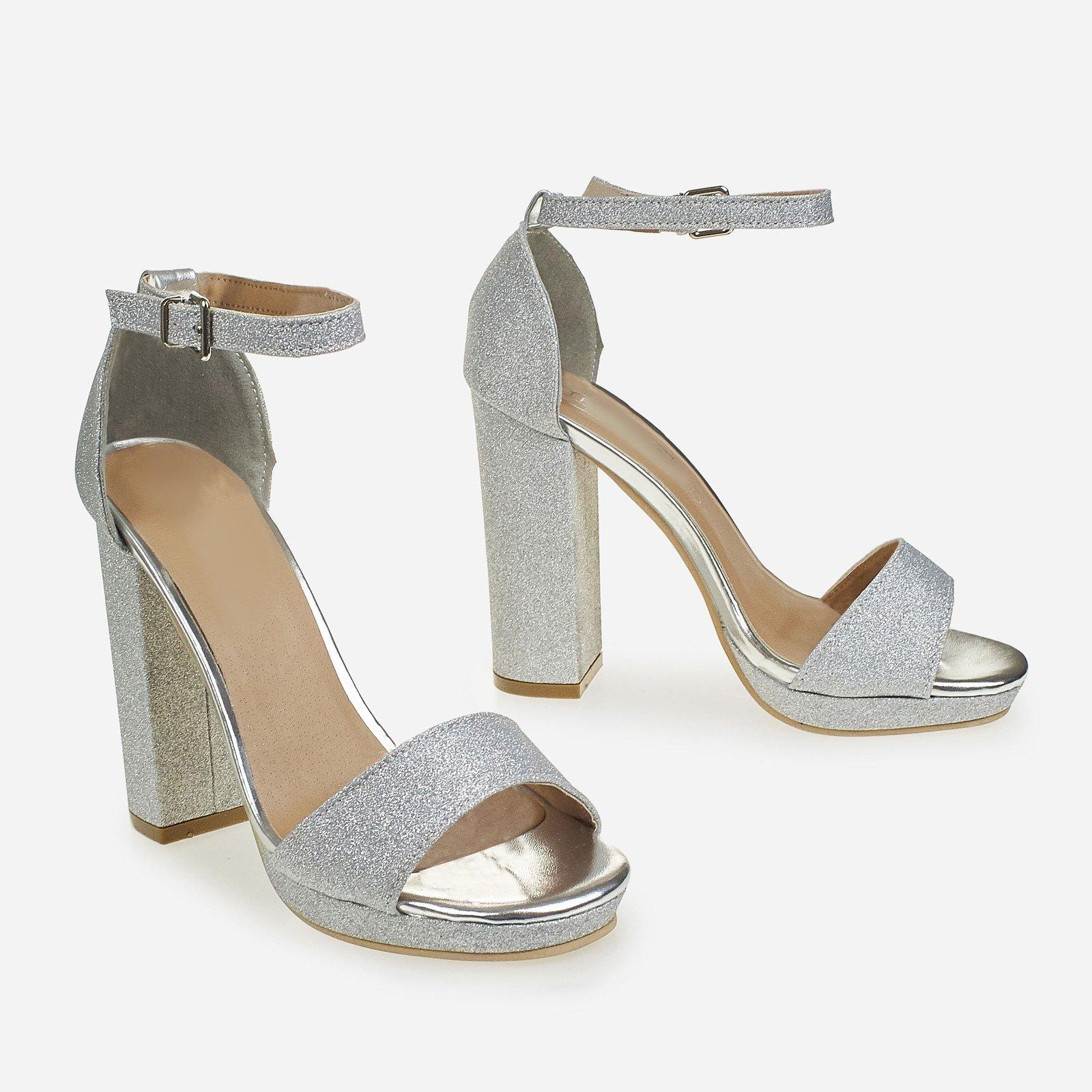 Chloe Block Heeled Sandal In Silver Glitter
