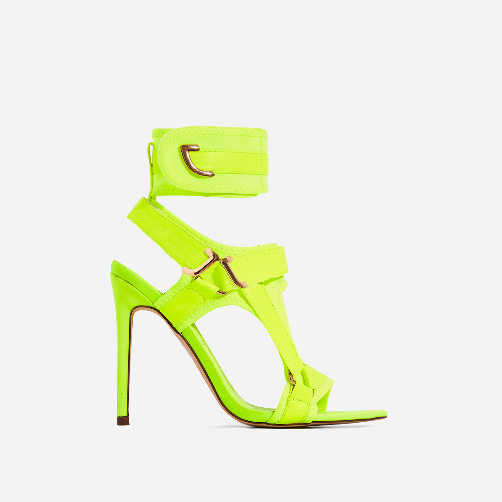 Dive-In Pointed Cage Heel In Lime Green Lycra