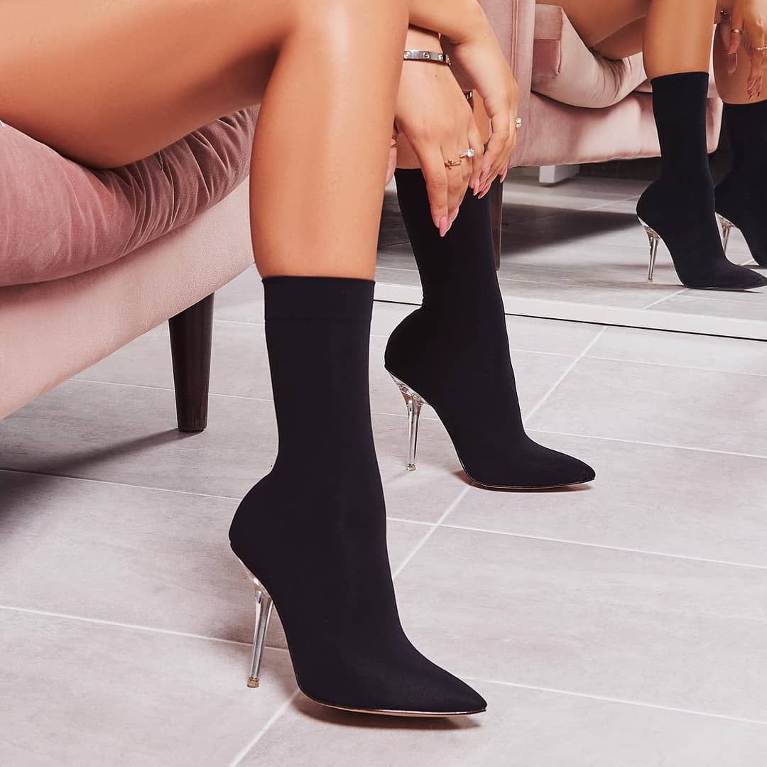Doll Perspex Ankle Sock Boot In Black