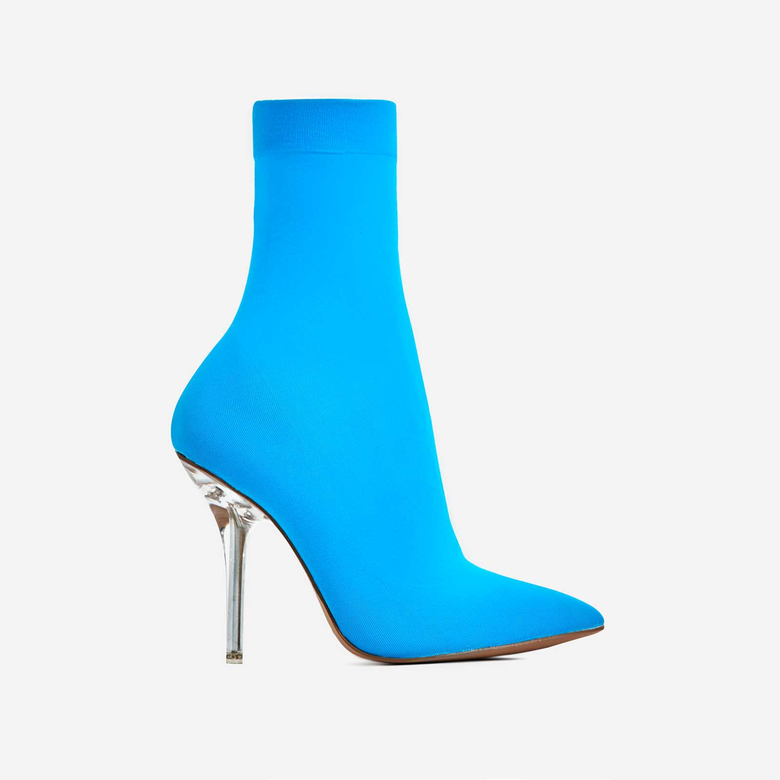 Doll Clear Perspex Heel Ankle Sock Boot In Blue