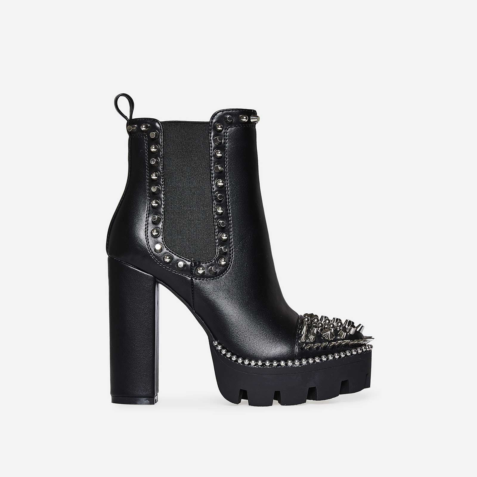 Domino Silver Studded Detail Platform Biker Boot In Black Faux Leather