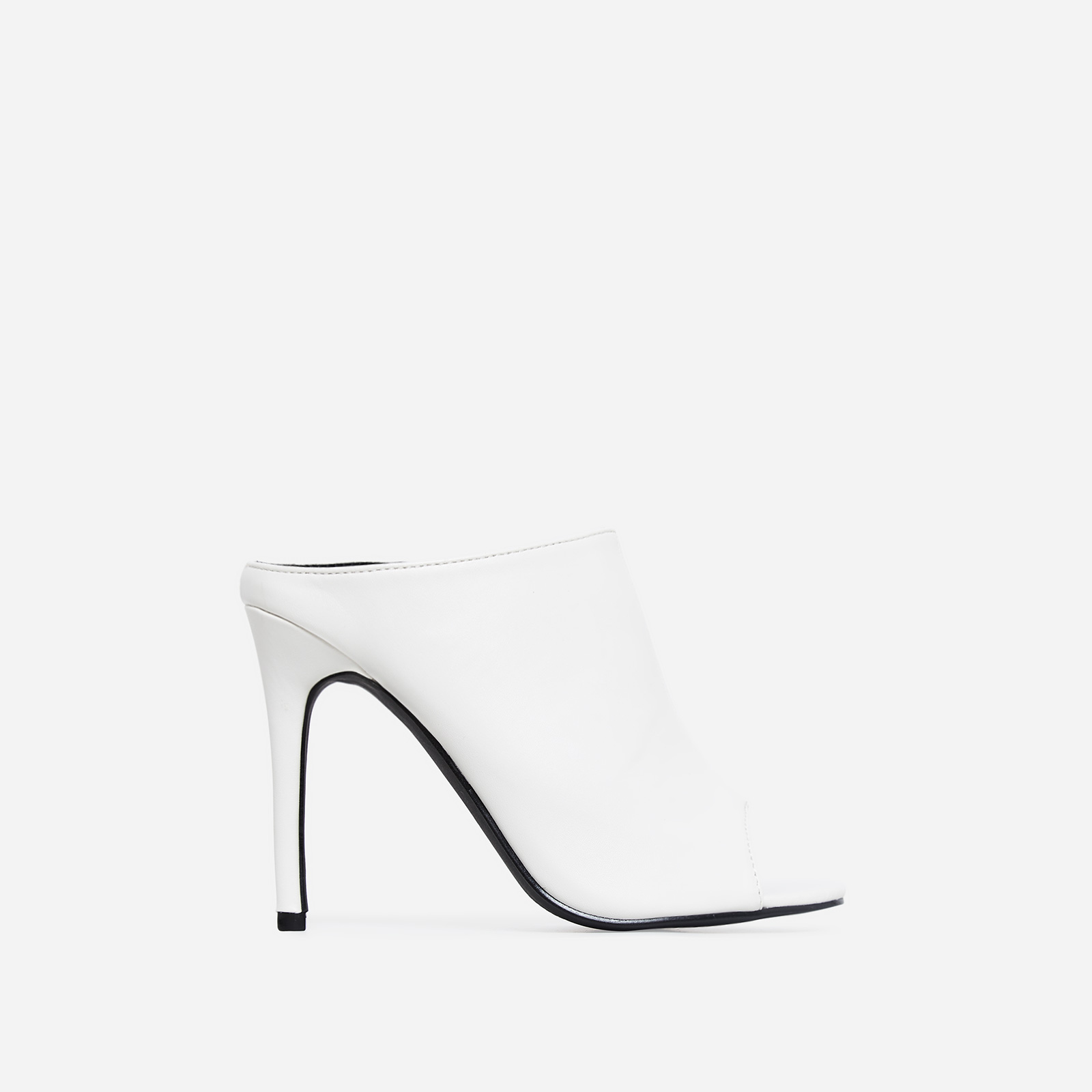 Downtown Peep Toe Mule In White Faux Leather