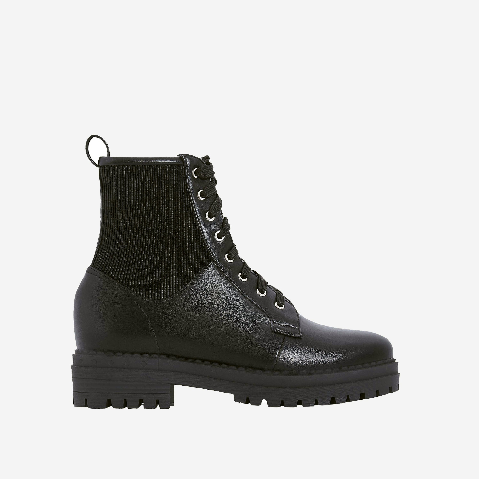 Dylan Lace Up Ankle Biker Boot In Black Faux Leather