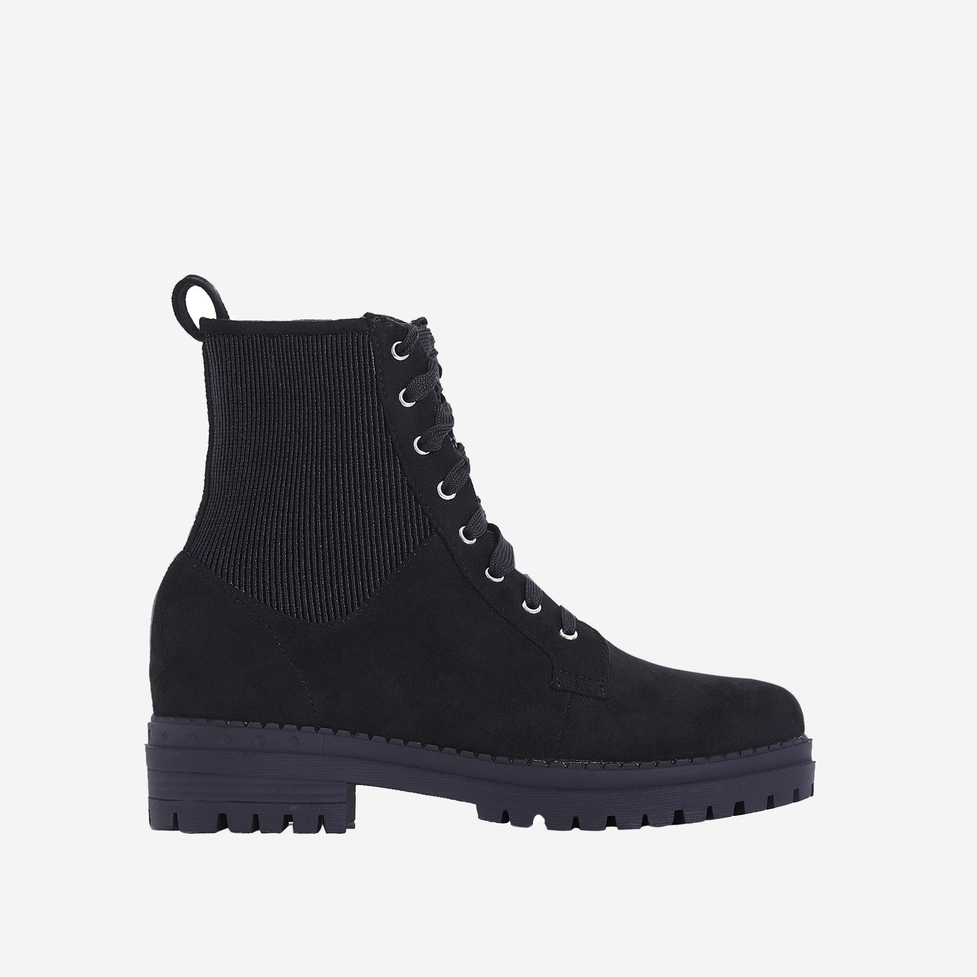 Dylan Lace Up Ankle Biker Boot In Black Faux Suede