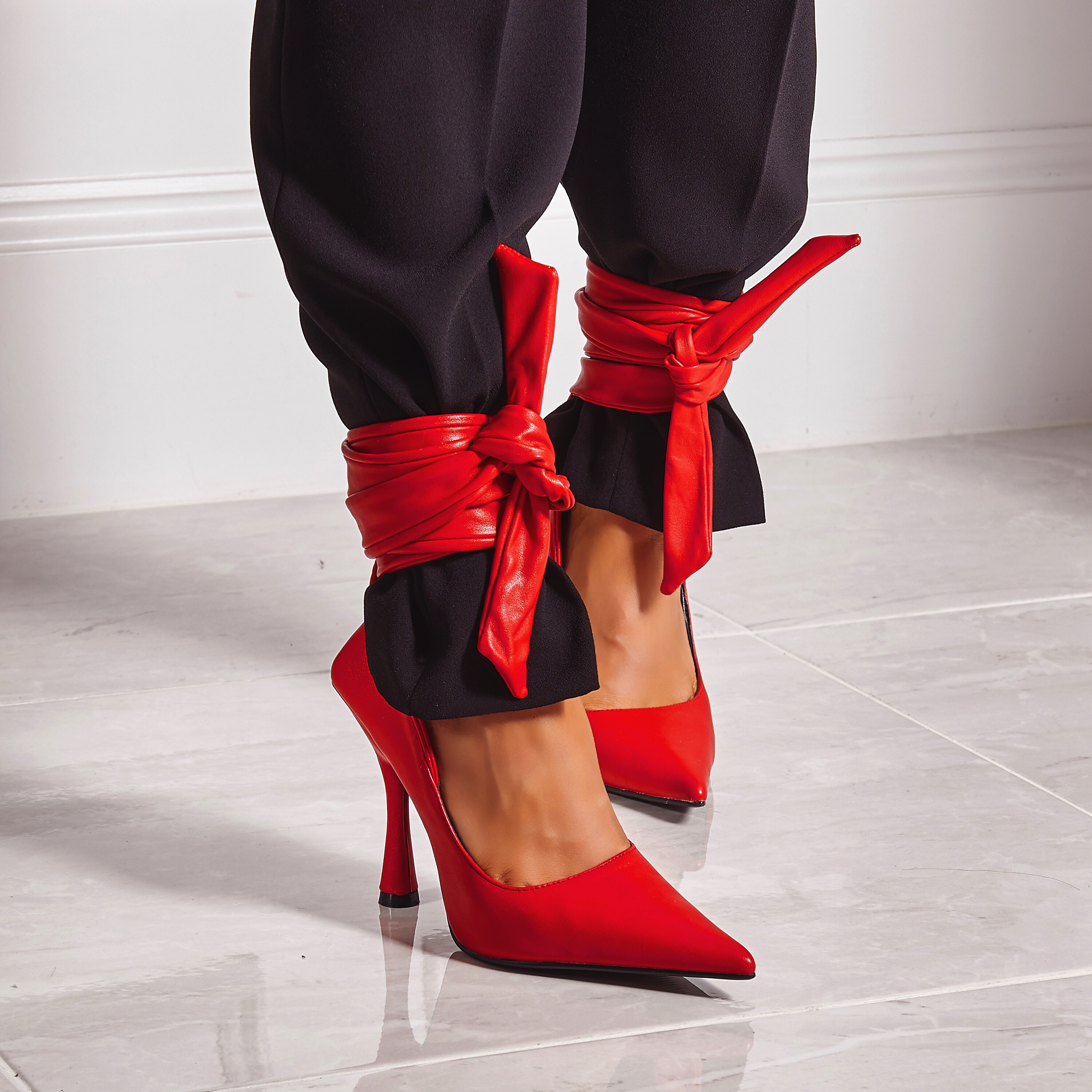 Balling Lace Up Pointed Court Heel In Red Faux Leather