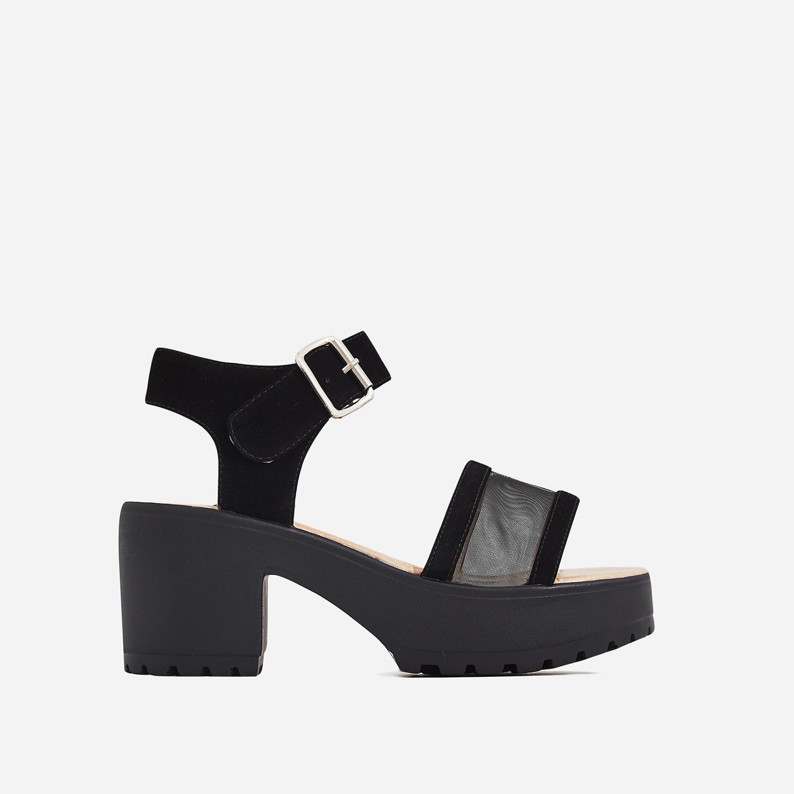 Echo Mesh Detail Sandal In Black Faux Suede