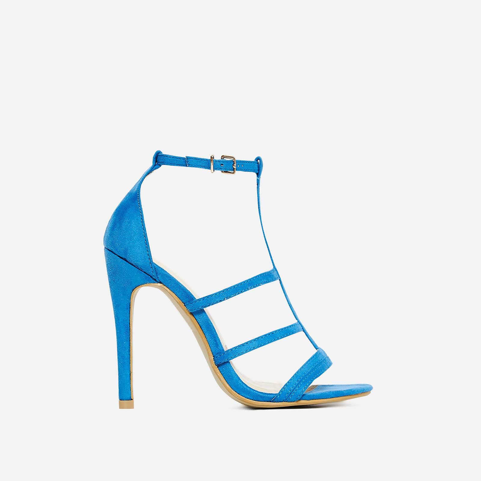 Izabel Caged Heel In Blue Faux Suede