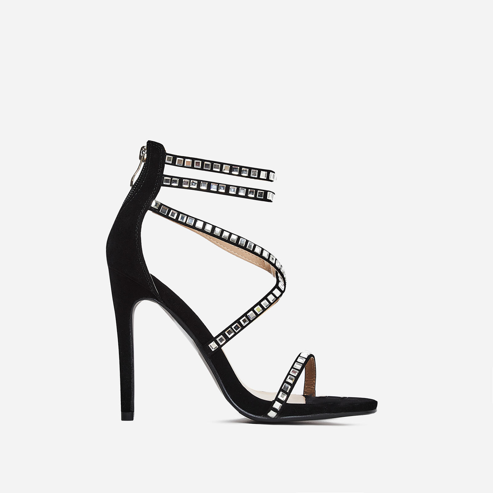 Diora Crystal Studded Heel In Black Faux Suede