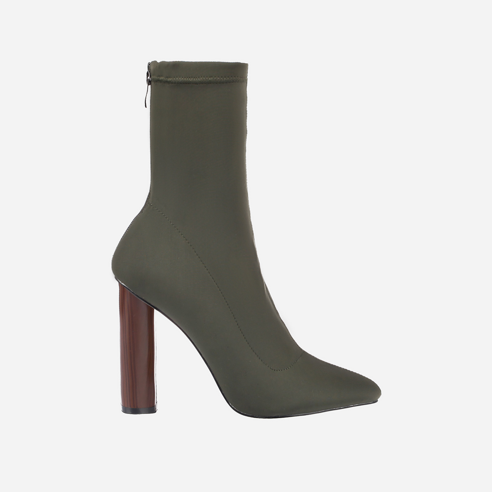 Zina Khaki High Ankle Boot In Lycra Image 1