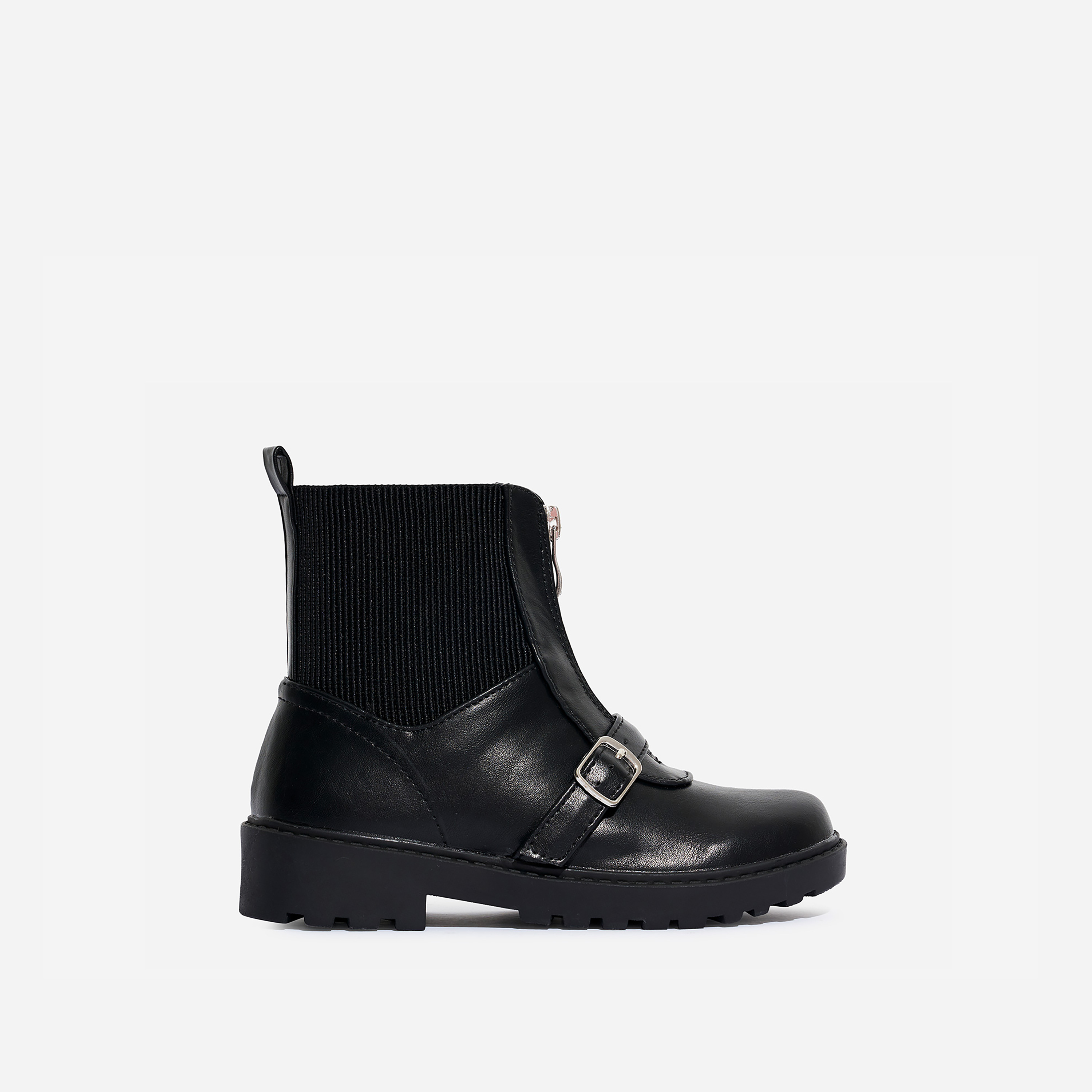 Porter Girl's Zip Detail Ankle Biker Boot In Black Faux Leather