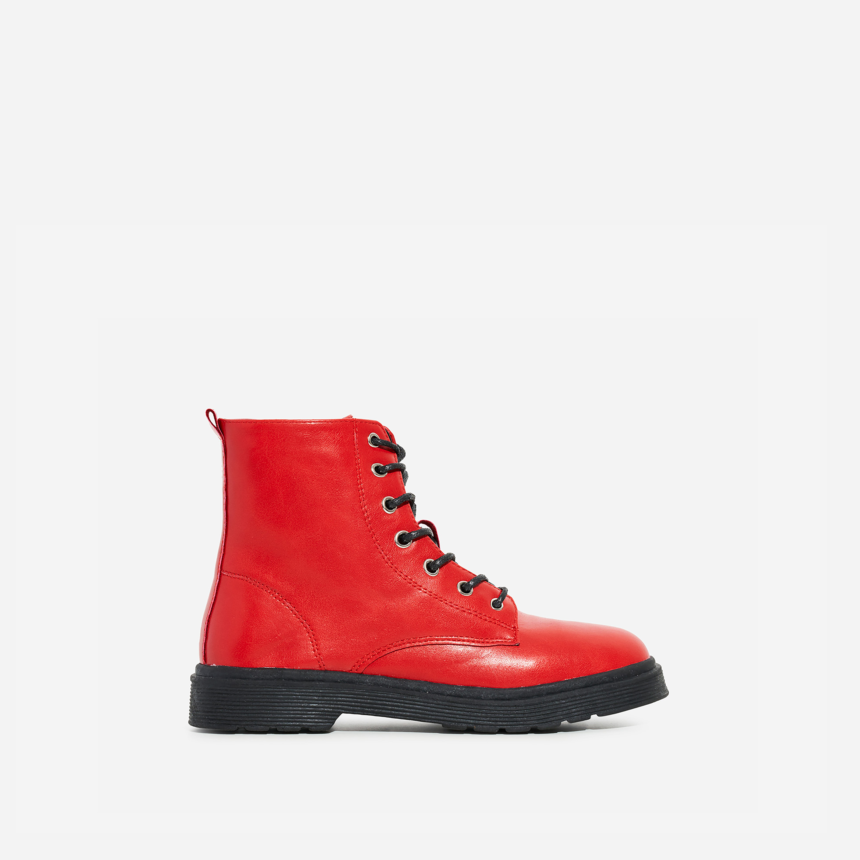 Poppin Girl's Lace Up Ankle Biker Boot In Red Faux Leather