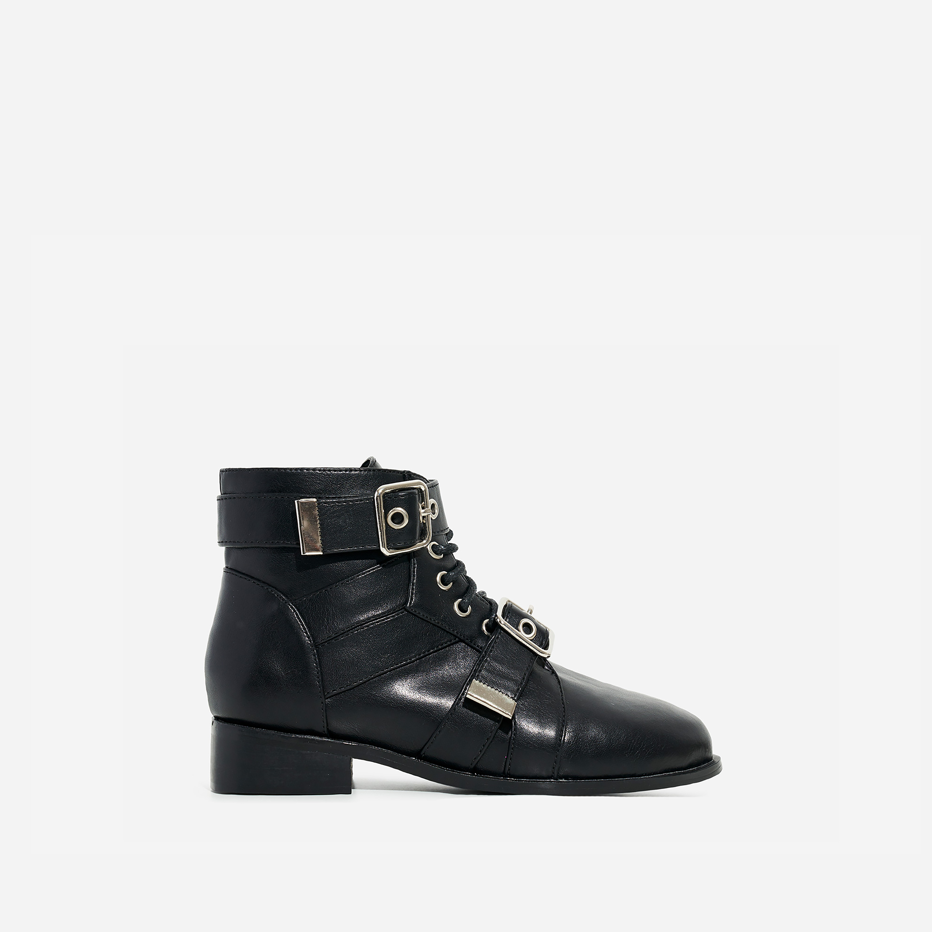 Howdy Girl's Buckle Detail Lace Up Ankle Biker Boot In Black Faux Leather