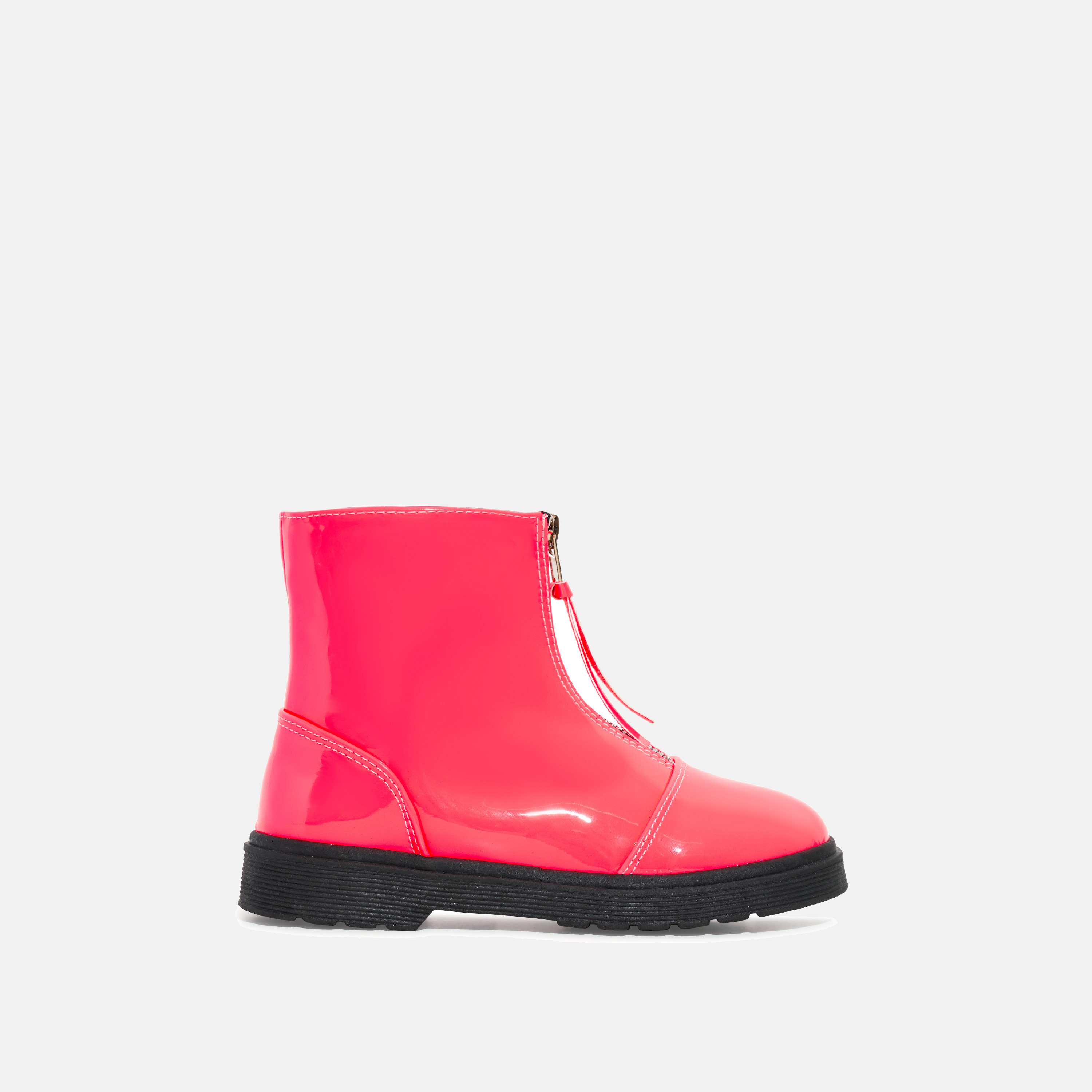 Centre Girl's Zip Detail Ankle Biker Boots In Pink Patent