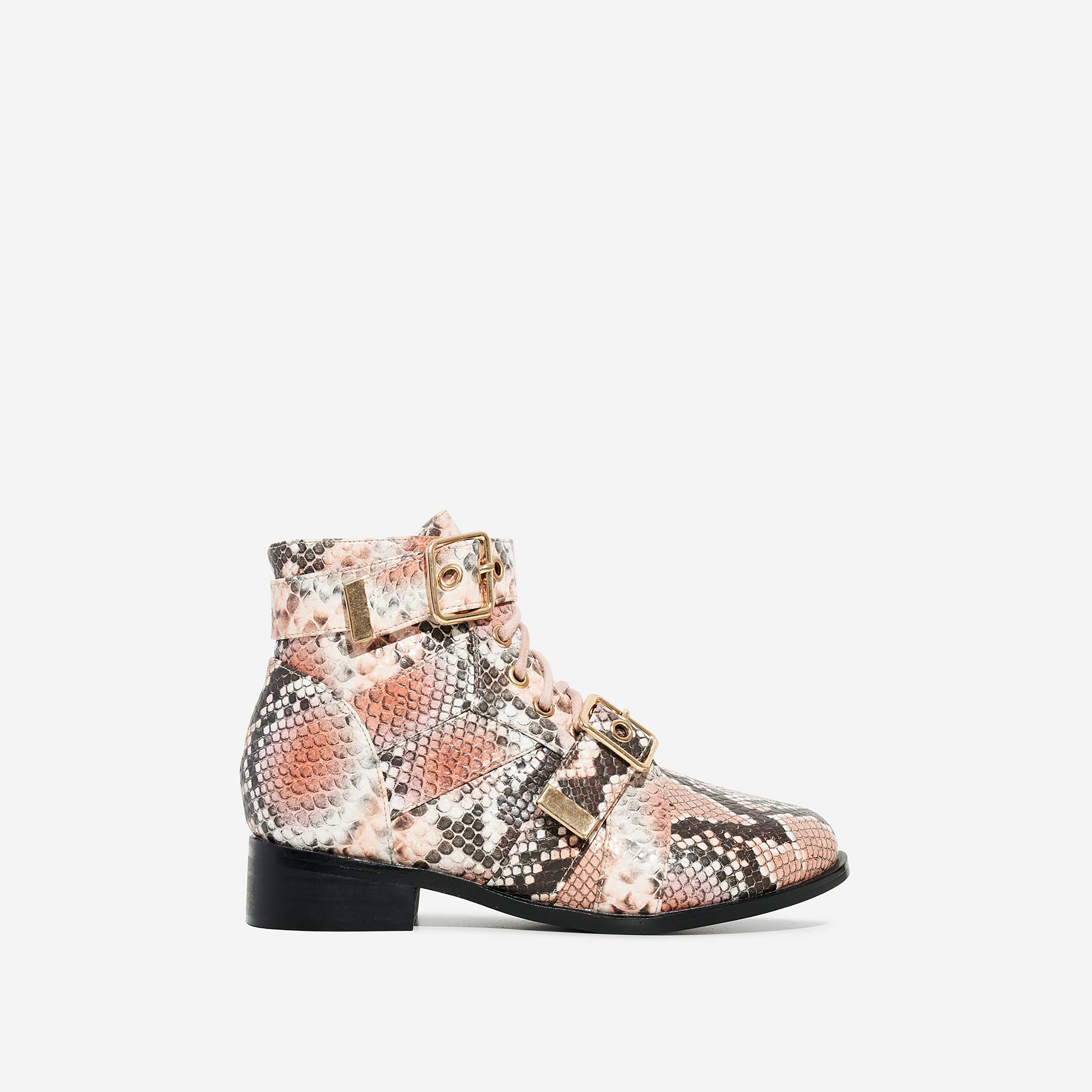 Howdy Girl's Buckle Detail Lace Up Ankle Biker Boot In Nude Snake Print Faux Leather