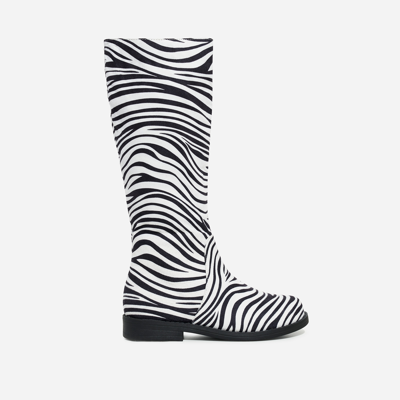 Animal Girl's Knee High Long Boot In Zebra Print Faux Suede