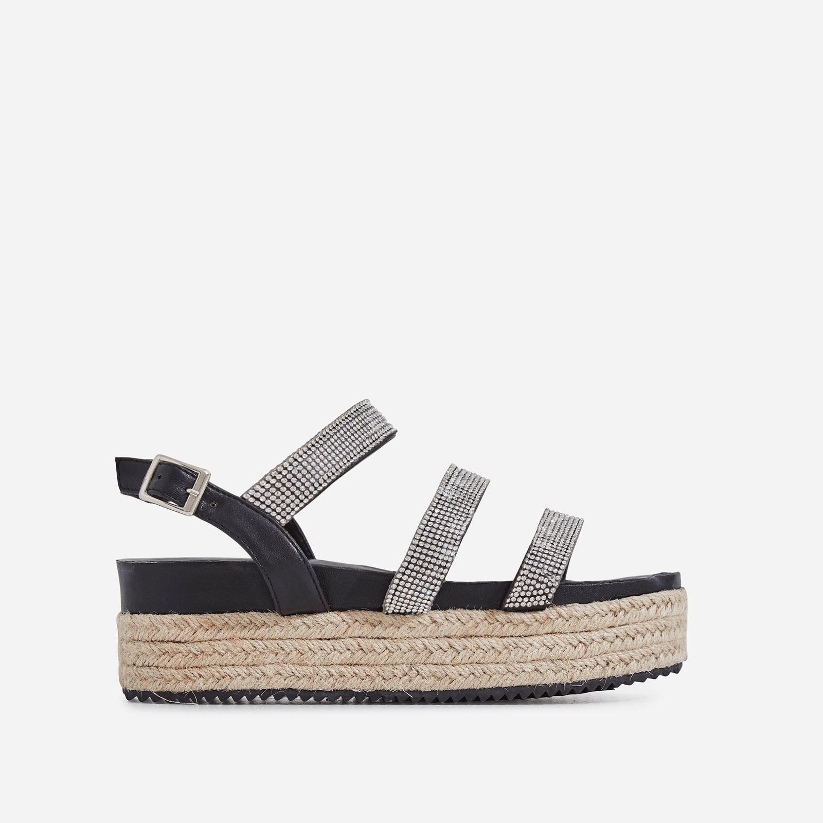 Eilish Diamante Detail Espadrille Flatform In Black Faux Leather