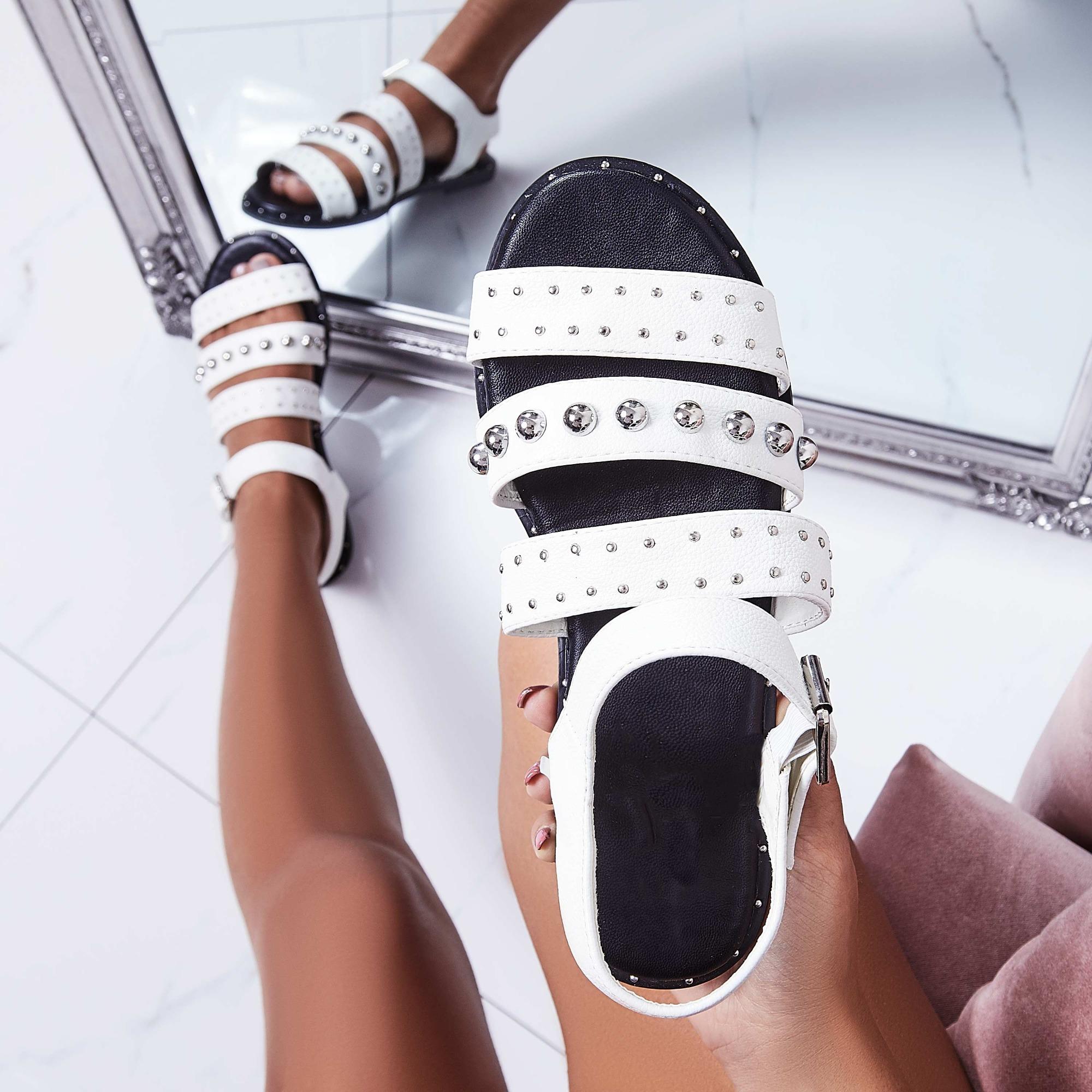 Elara Studded Detail Sandal In White Faux Leather