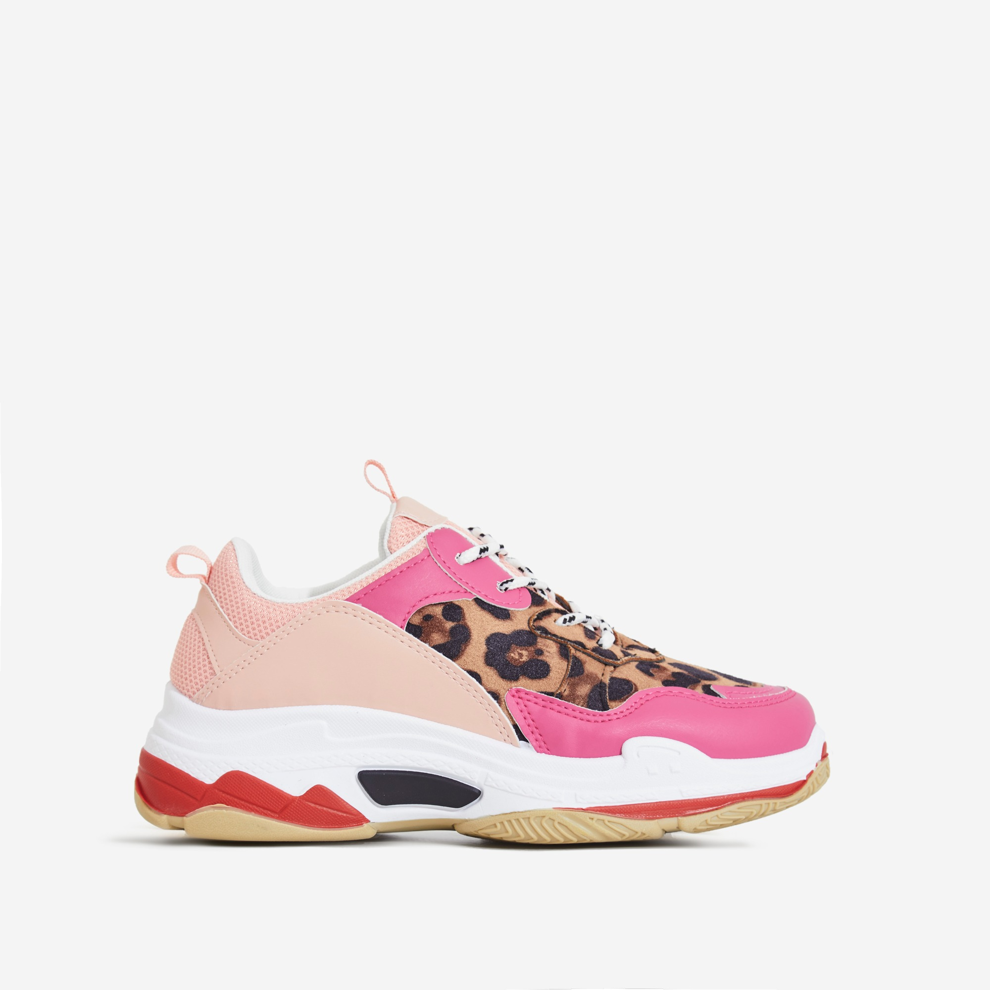 Elijah Chunky Trainer In Pink And Leopard Print