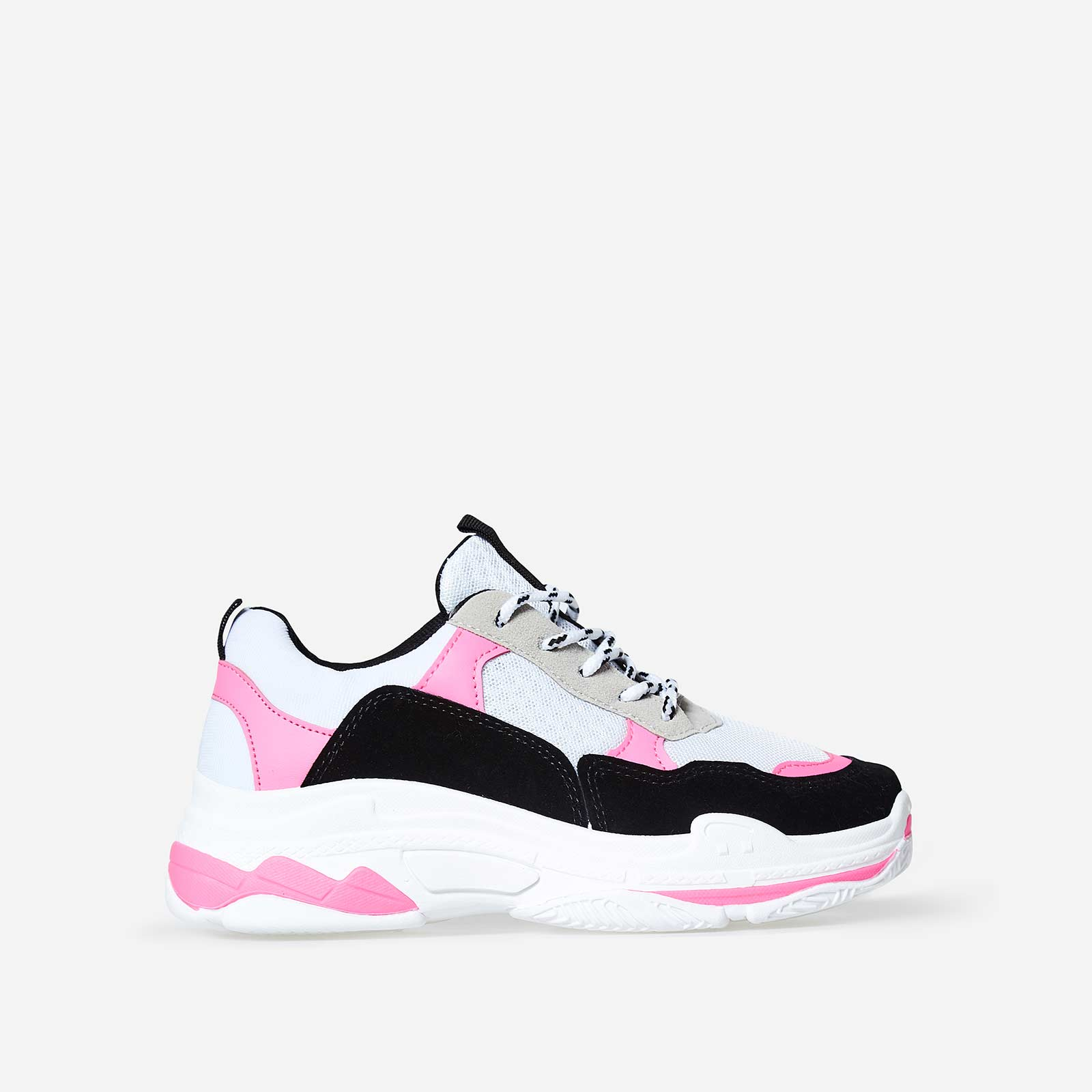Elijah Chunky Trainer In Black And Pink