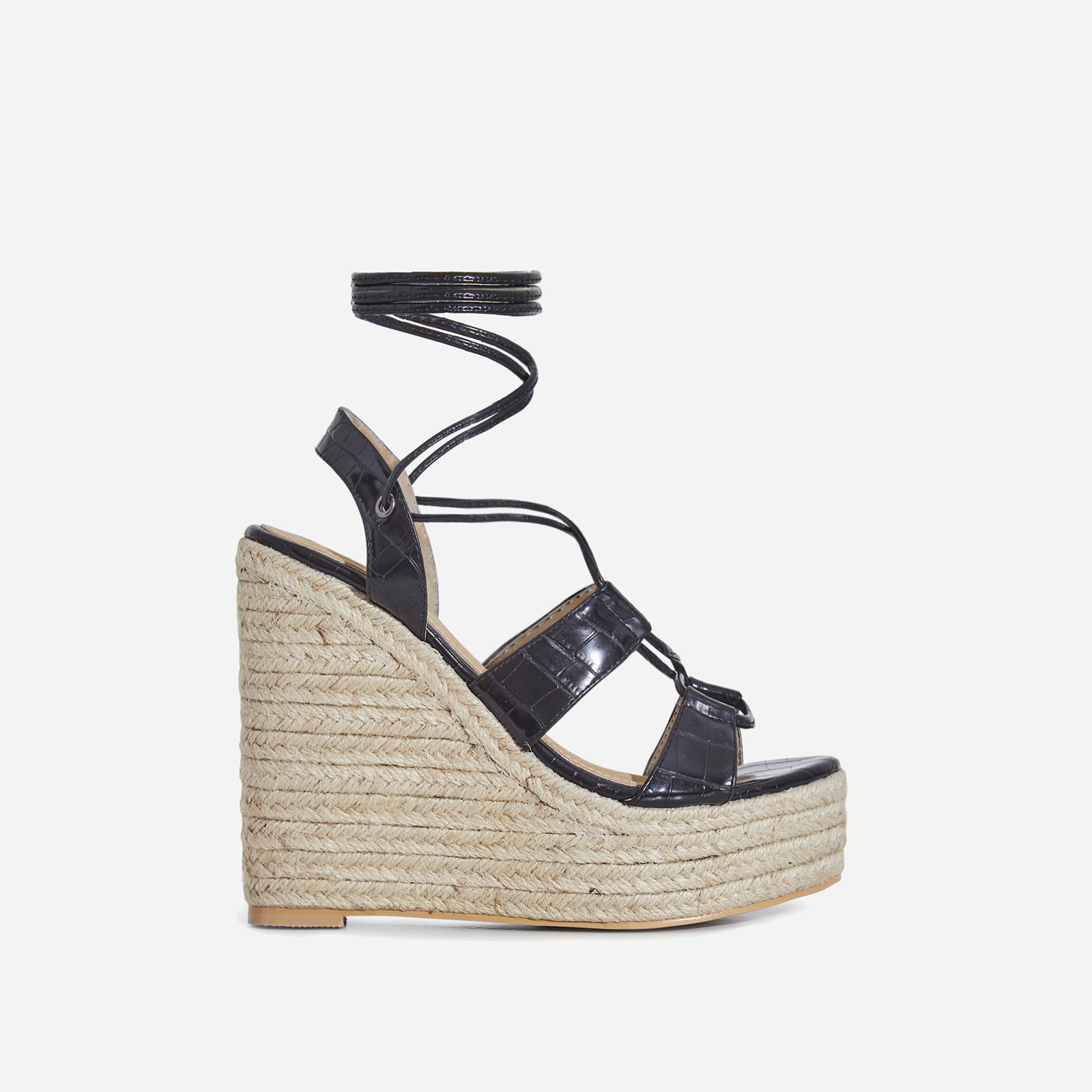 Emelia Lace Up Espadrille Wedge Platform Heel In Black Croc Print Faux Leather
