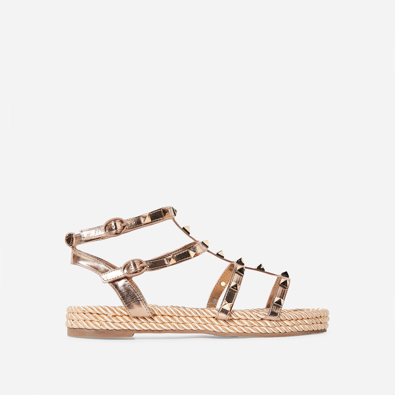 Emery Studded Detail Rope Espadrille In Rose Gold Faux Leather
