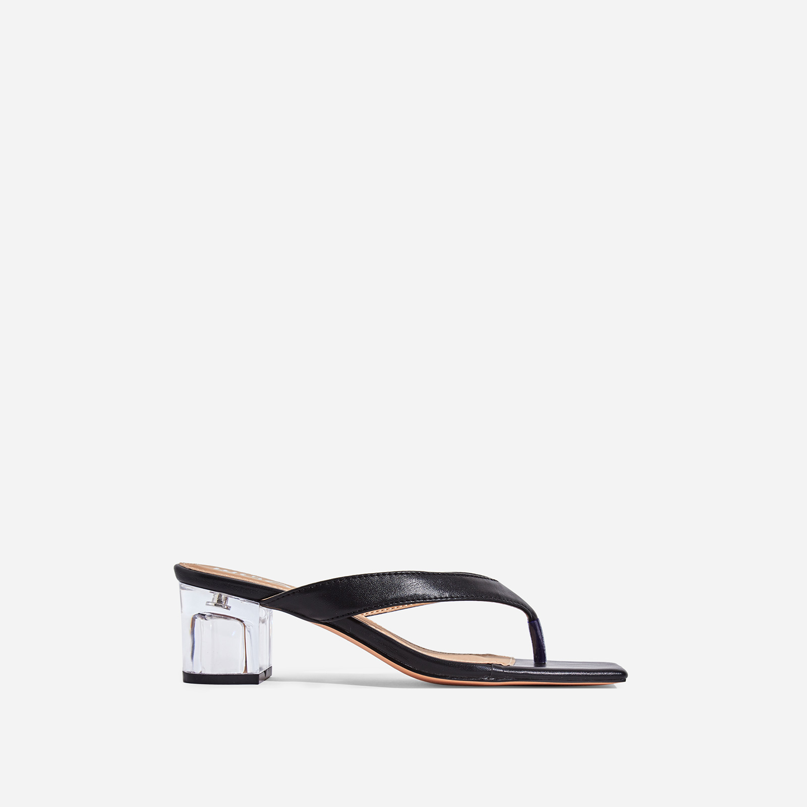 Emme Square Toe Perspex Midi Block Heel Mule In Black Faux Leather