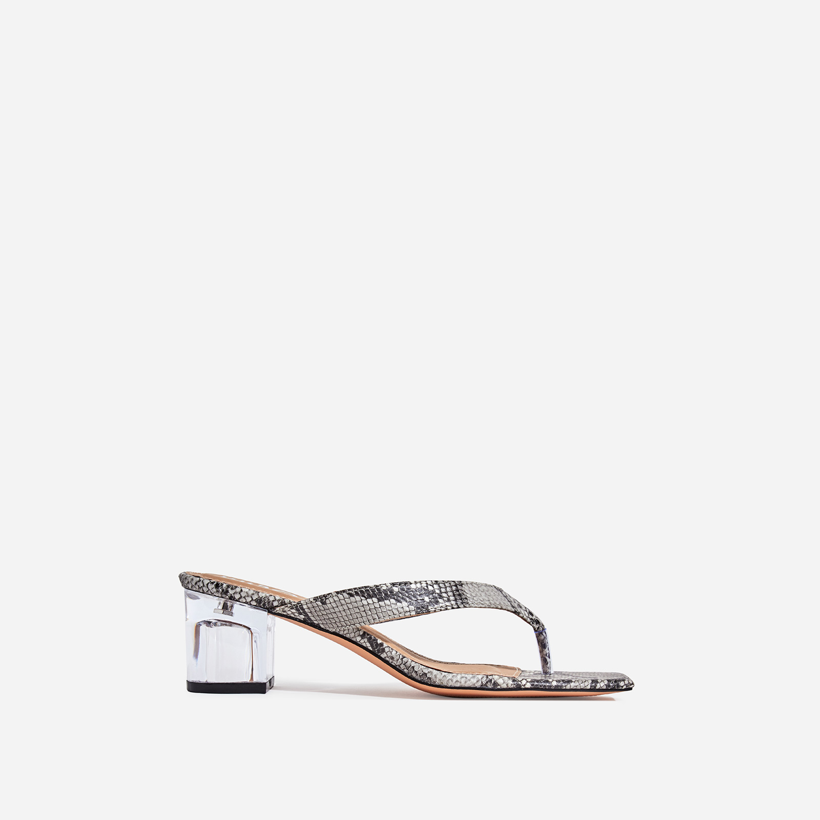 Emme Square Toe Perspex Midi Block Heel Mule In Grey Snake Print Faux Leather