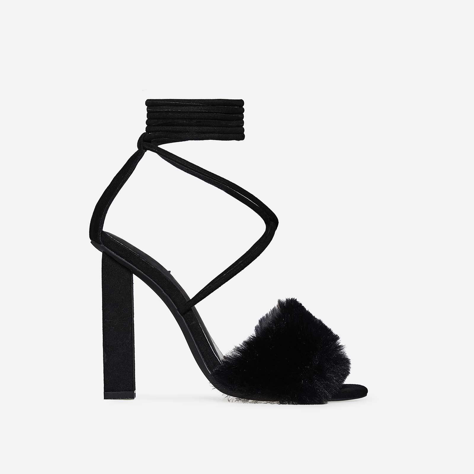 Estelle Lace Up Faux Fur Block Heel In Black Faux Suede