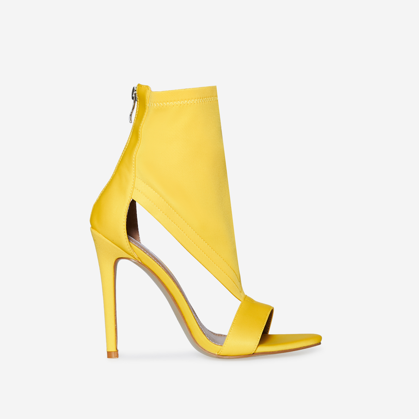 Yuri Cutout Peep Toe Heel In Yellow Lycra