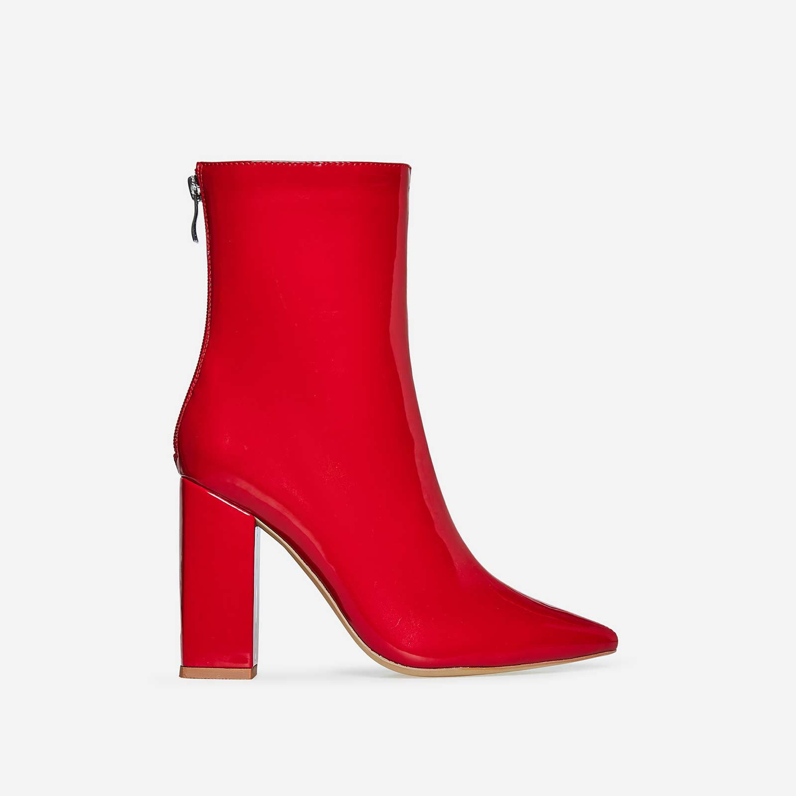 Everly Block Heel Ankle Boot In Red Patent