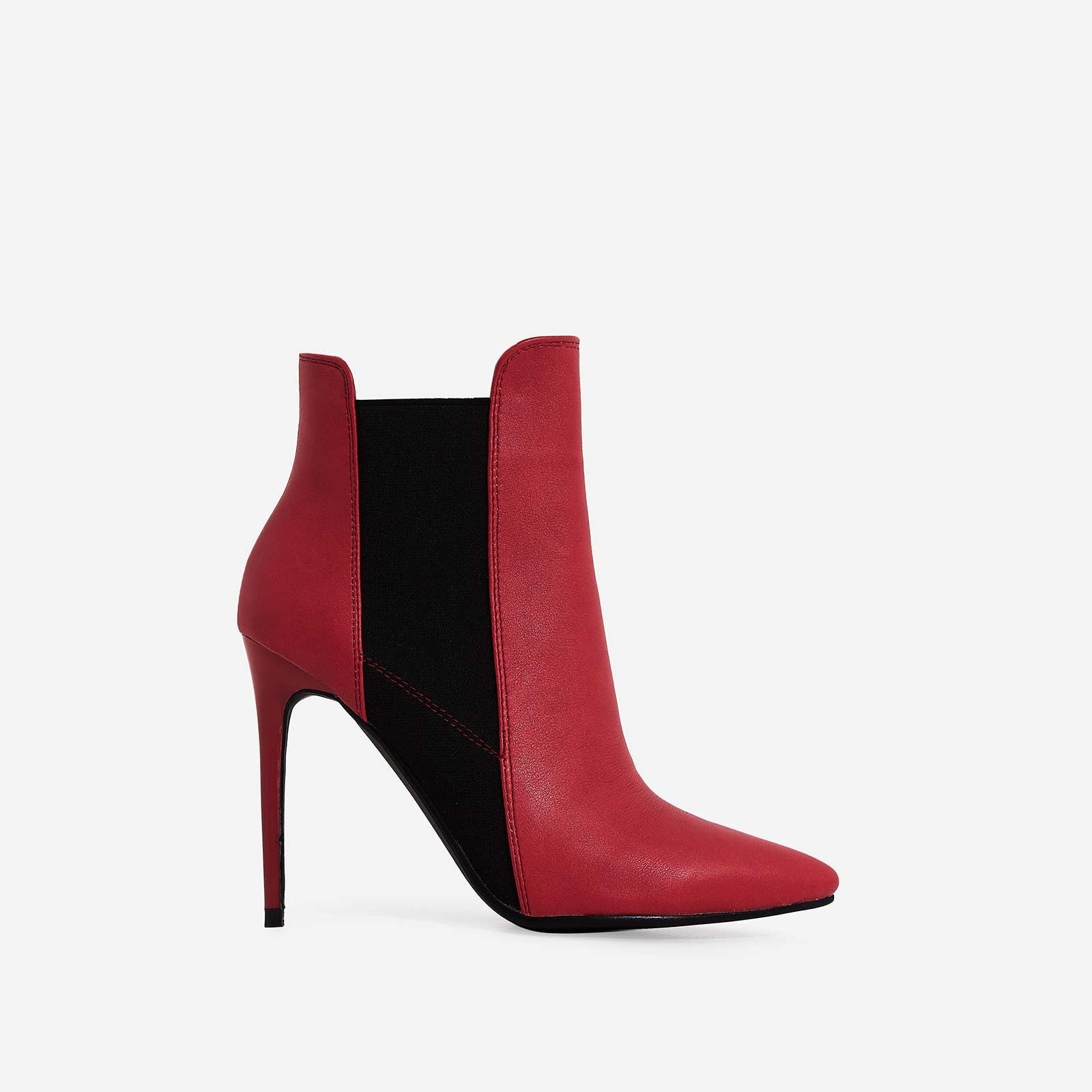 Faye Elasticated Ankle Boot In Red Faux Leather