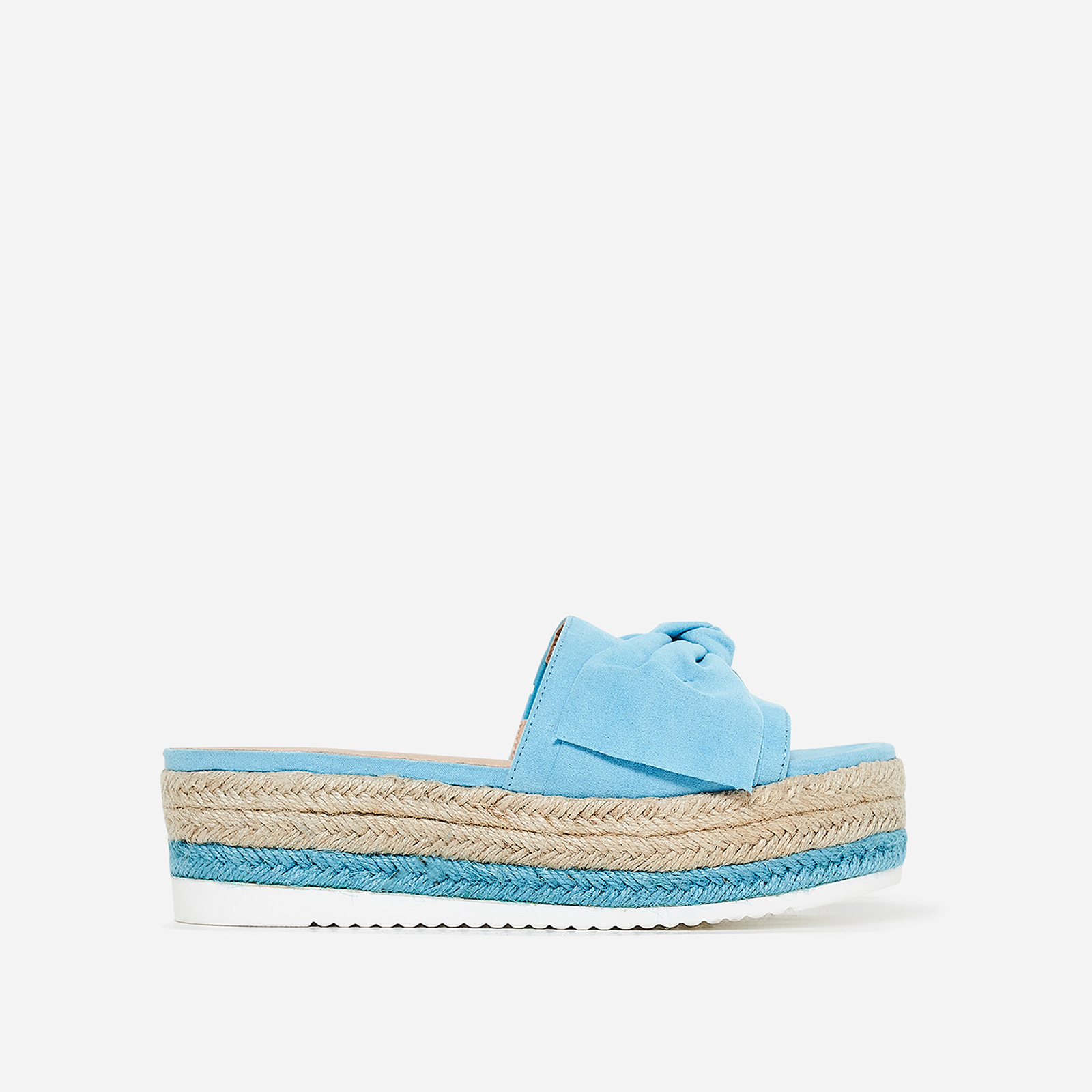 Fergie Bow Detail Espadrille Slider In Blue Faux Suede