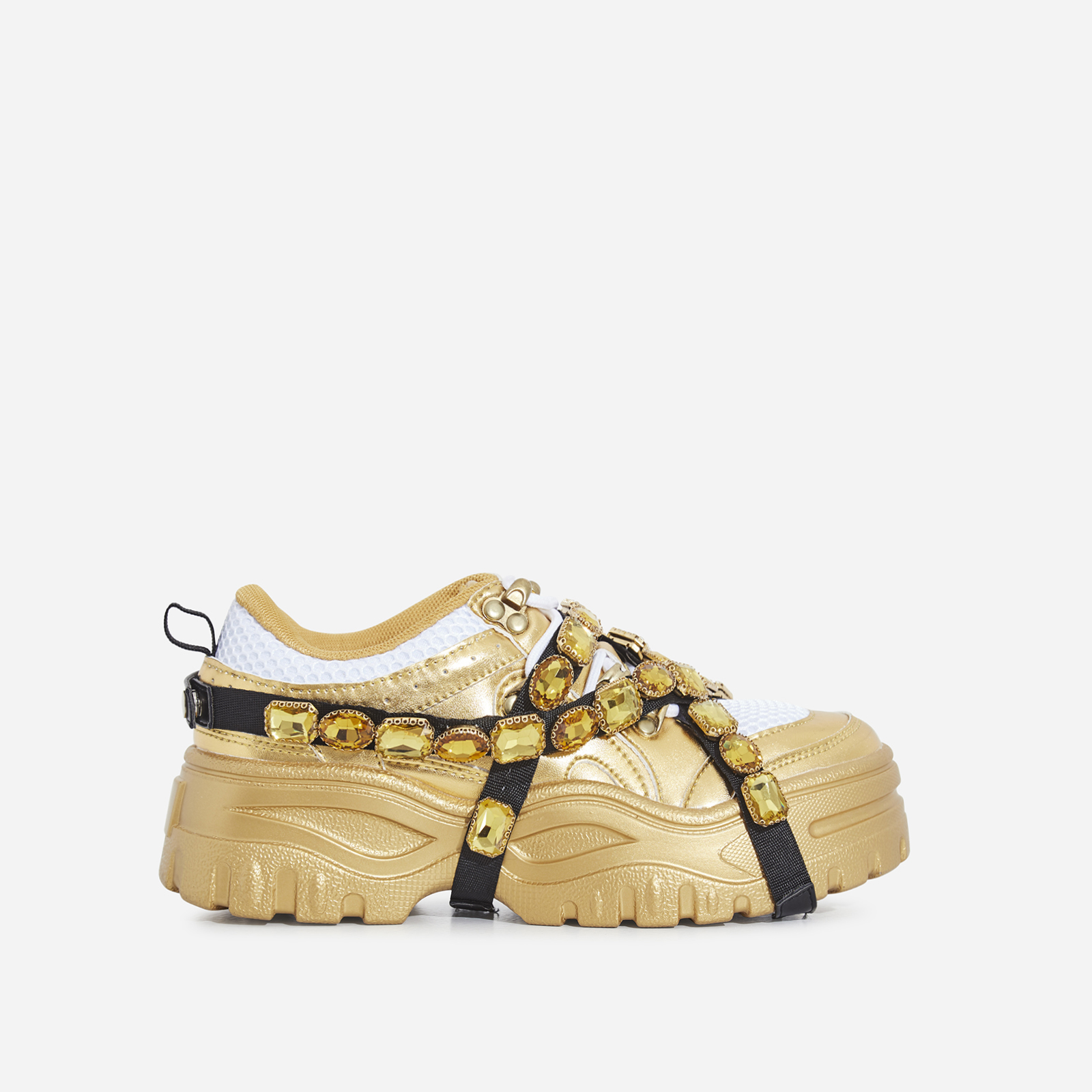 Fever Gem Embellished Trainers In Gold Faux Leather