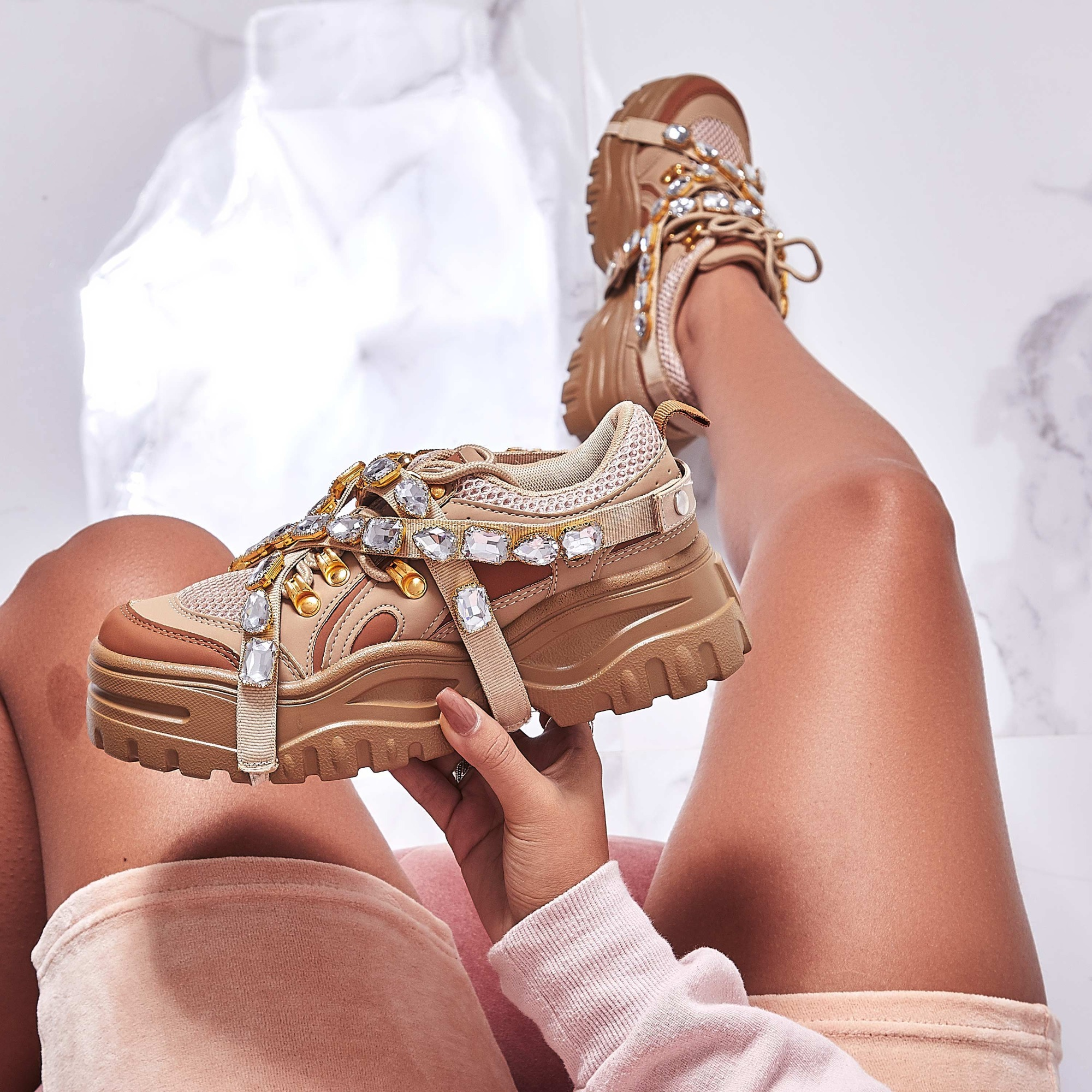 Fever Gem Embellished Trainers In Nude Faux Leather