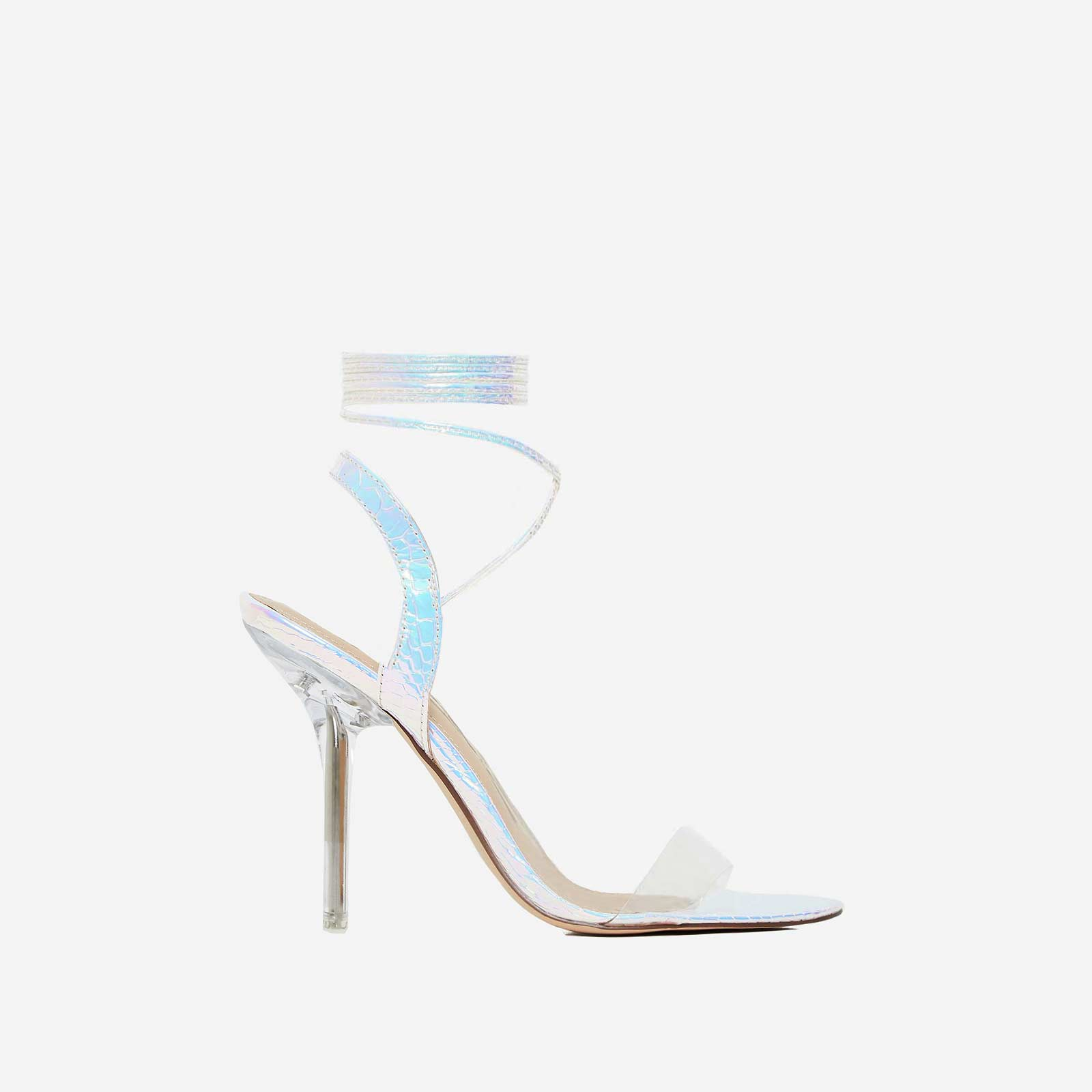 Foxy Lace Up Perspex Heel In Silver Snake Print Faux Leather