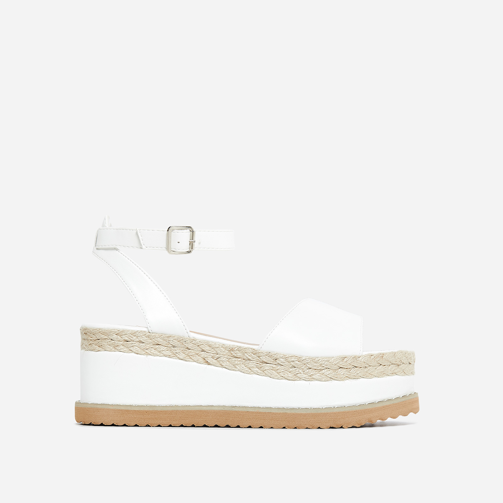 Lucie Espadrille Flatform In White Faux Leather