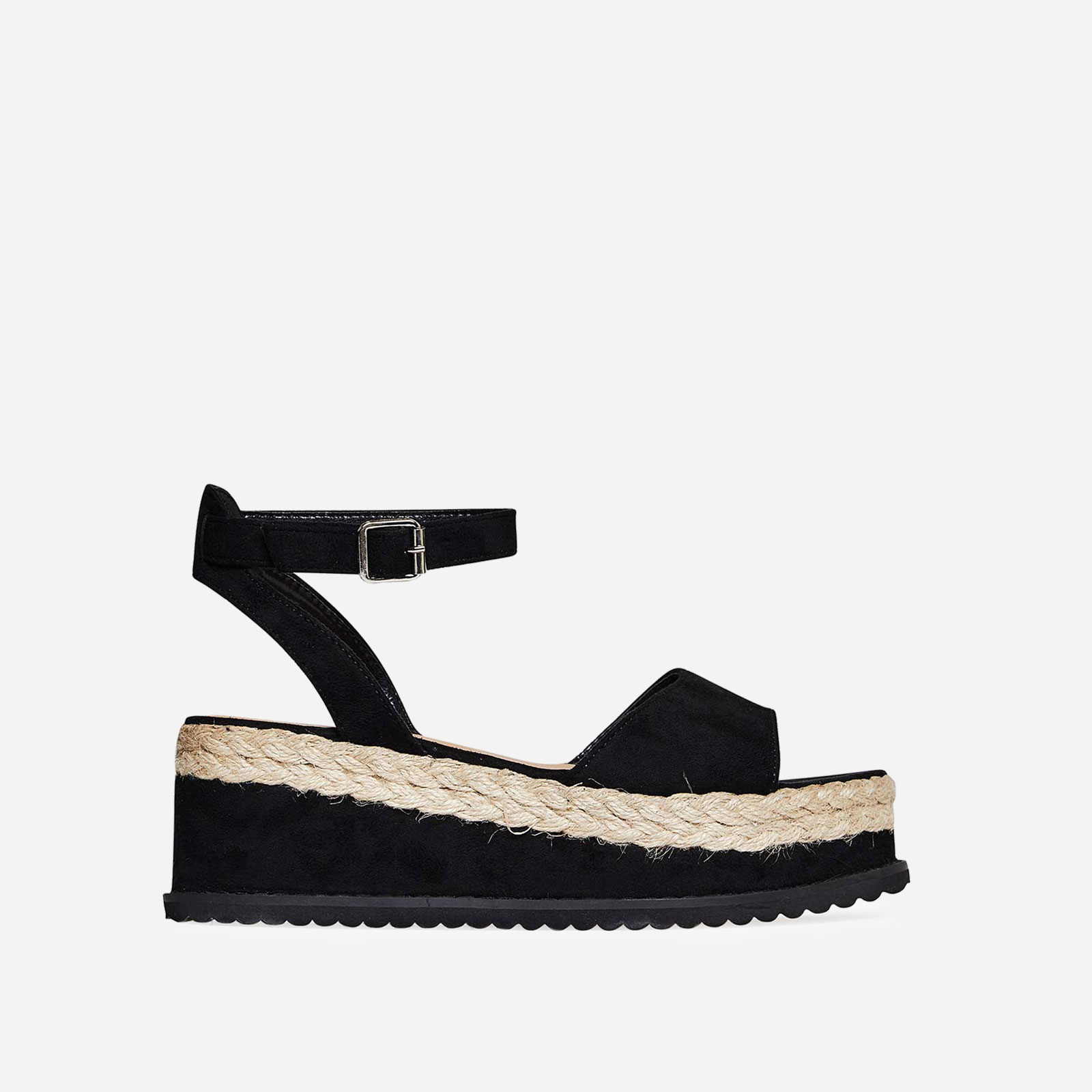 Lucie Espadrille Flatform In Black Faux Suede Image 1