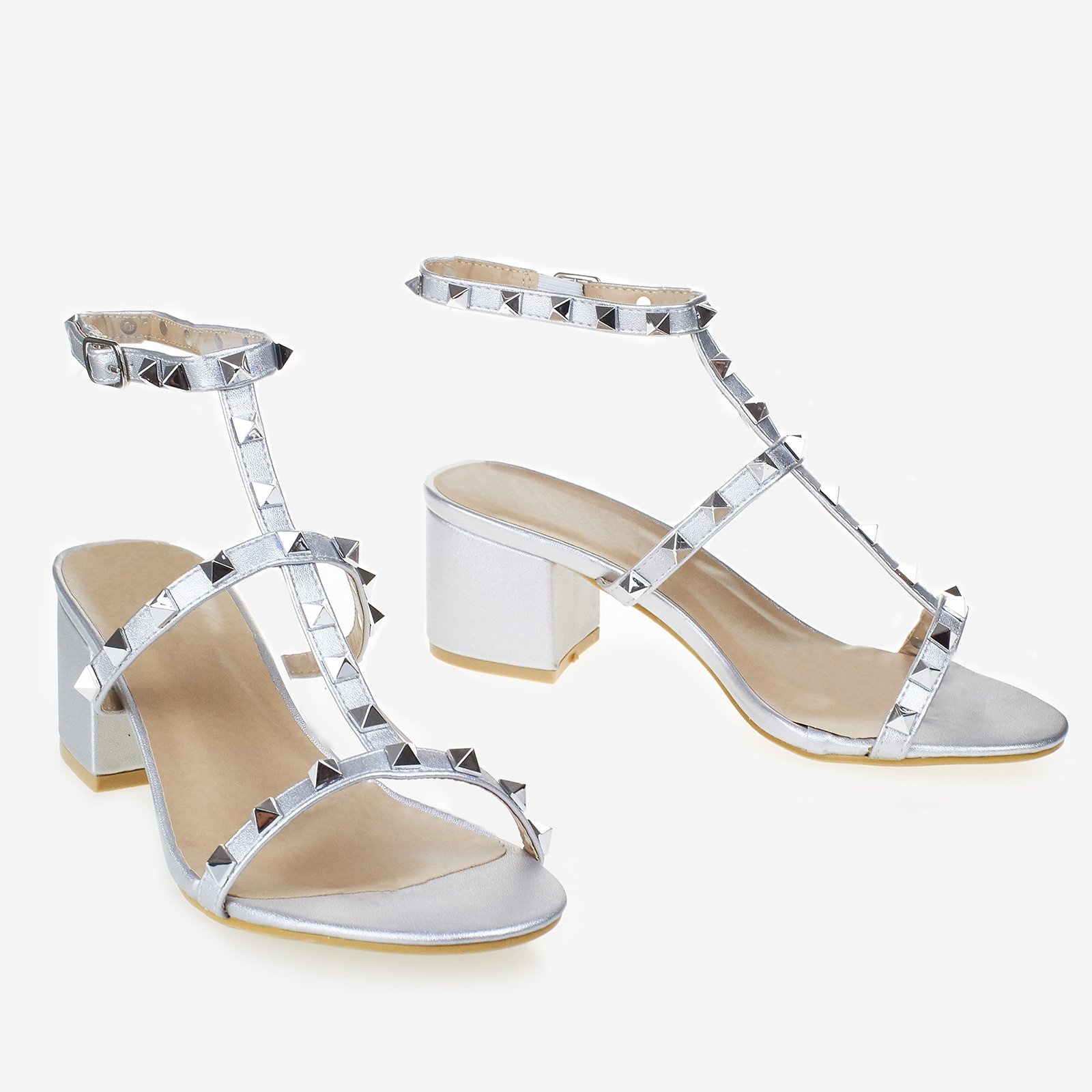 Parker Studded Block Heel In Silver Faux Leather