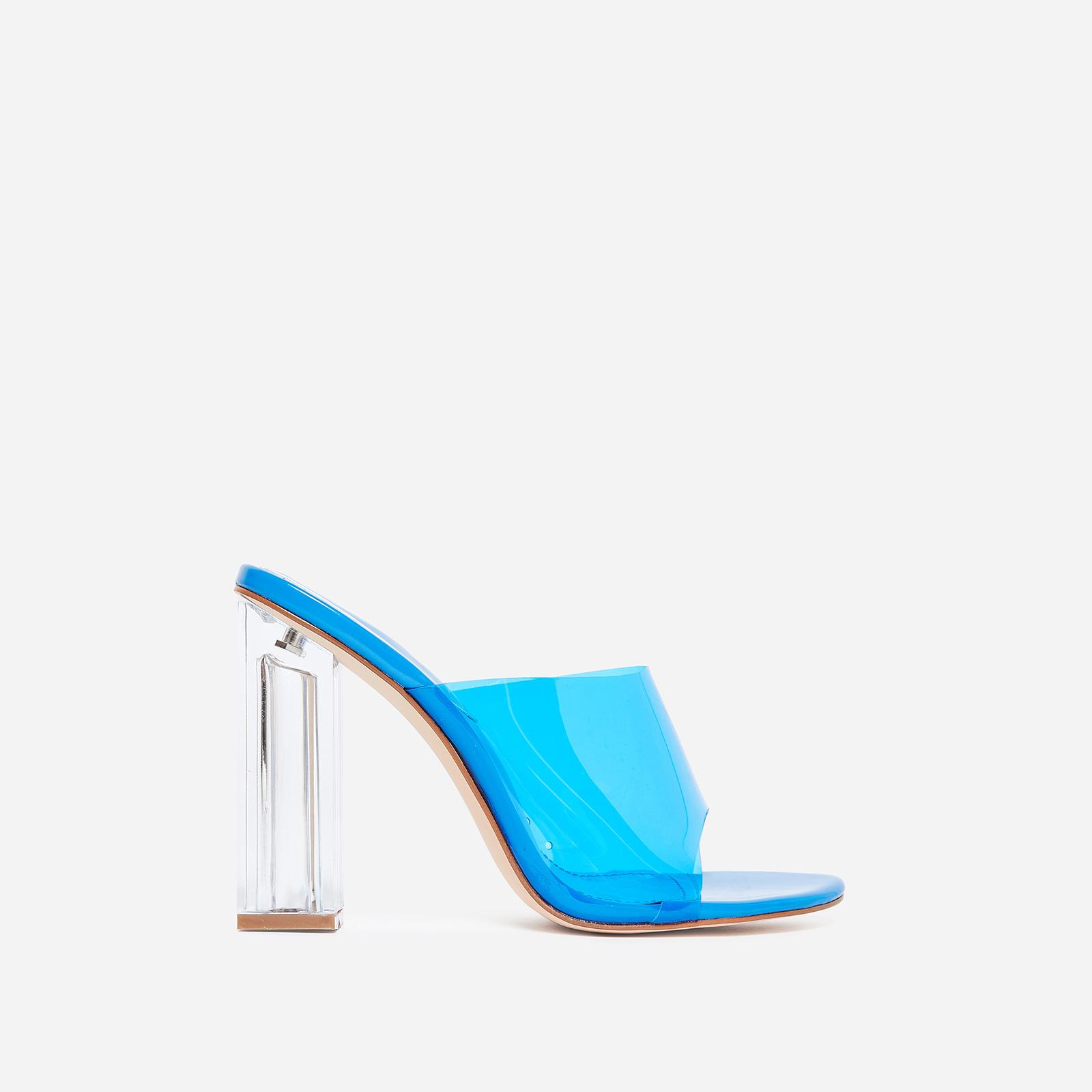 Fusion Perspex Block Heel Peep Toe Mule In Blue Patent