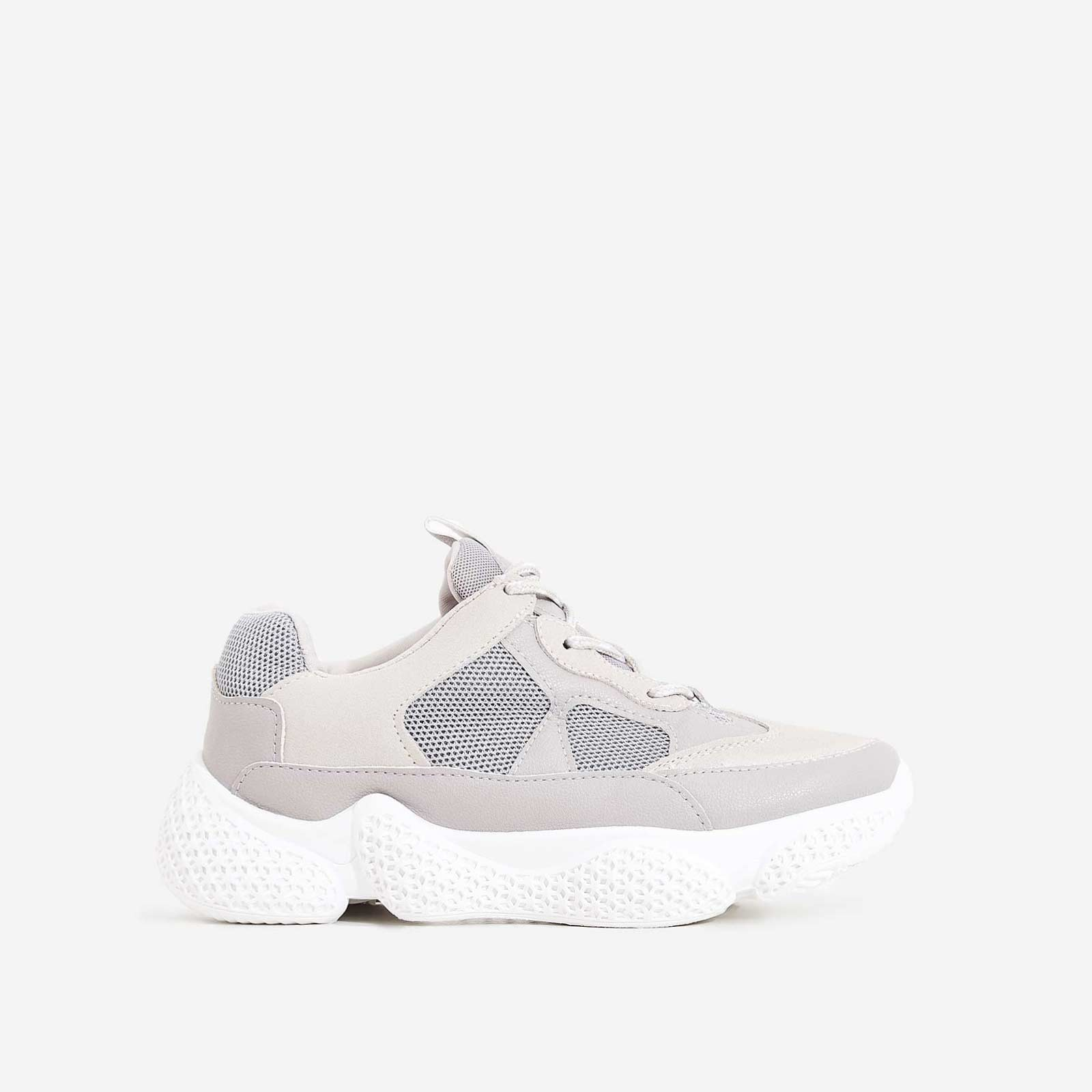 Reeva Chunky Sole Trainer In Grey Faux Suede