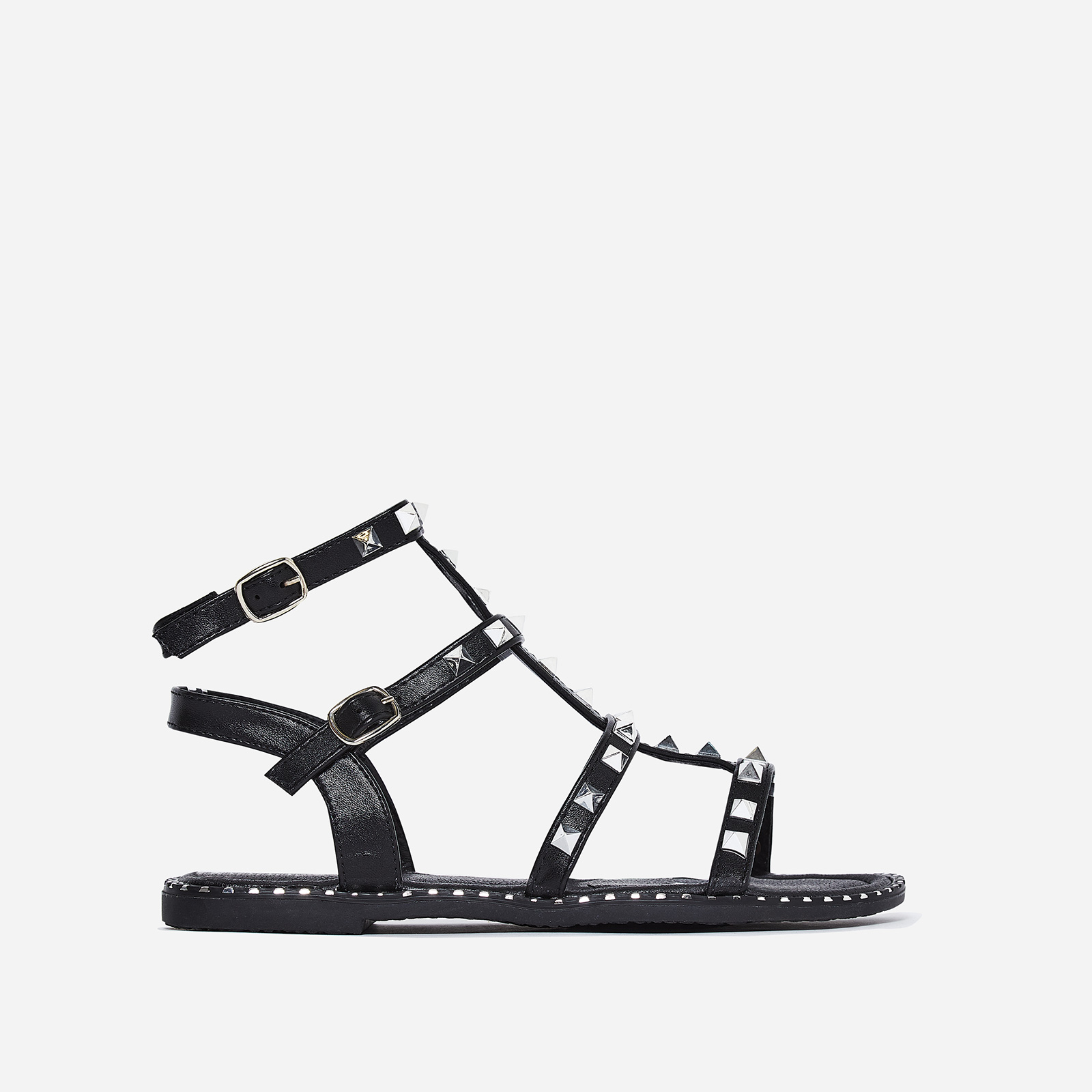 Gabriel Silver Studded Detail Gladiator Sandal In Black Faux Leather