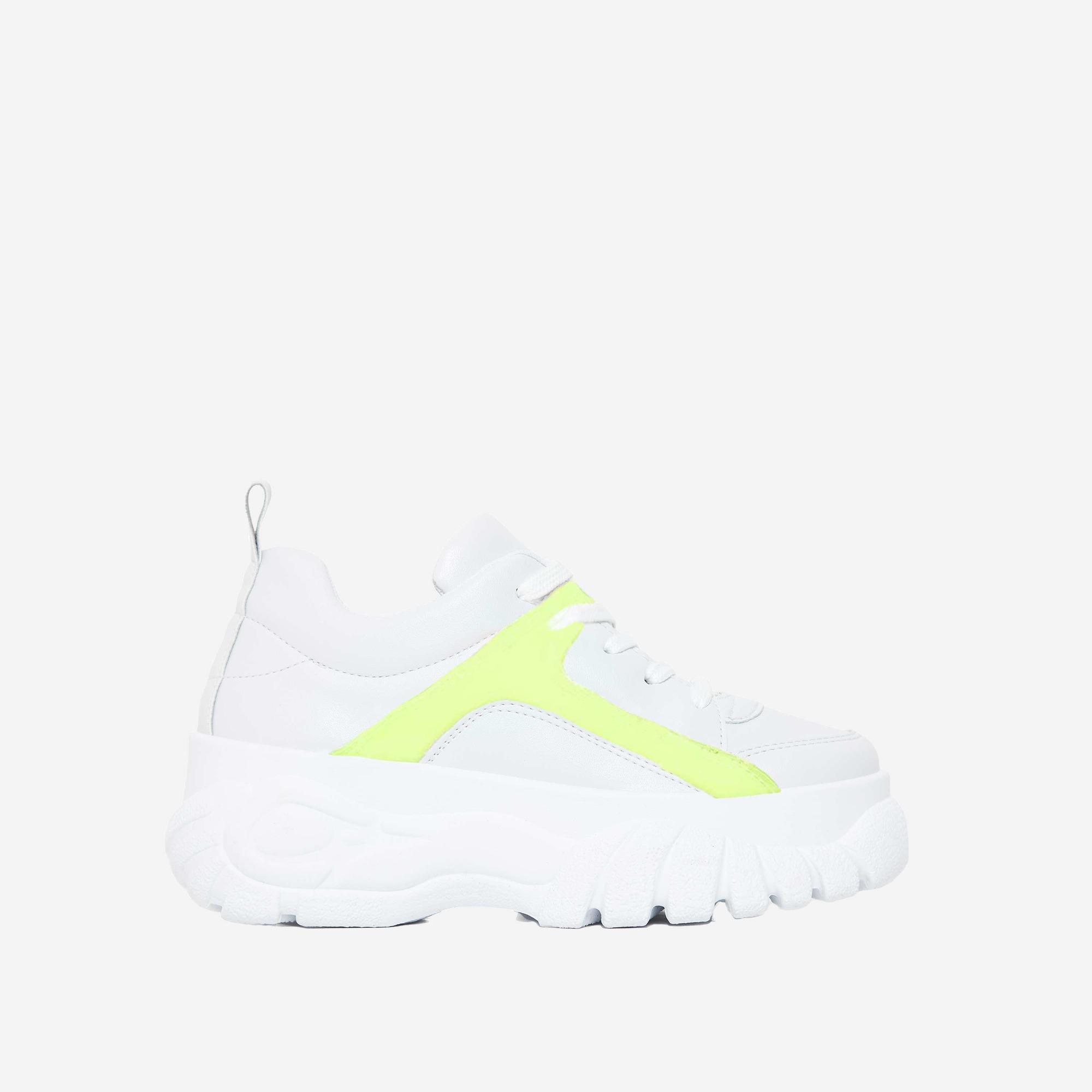 Galaxy Fluorescent Green Detail Platform Trainer In White Faux Leather