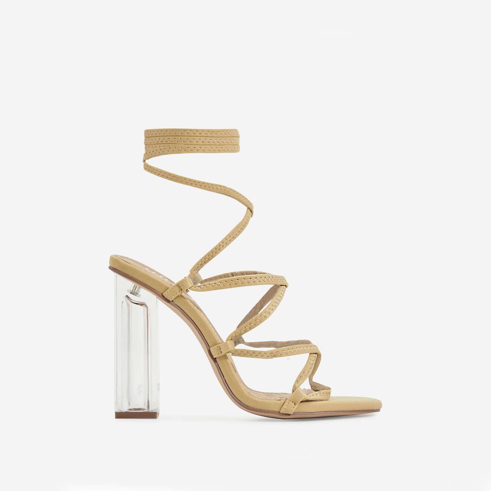 Gamble Perspex Lace Up Block Heel In Nude Lycra