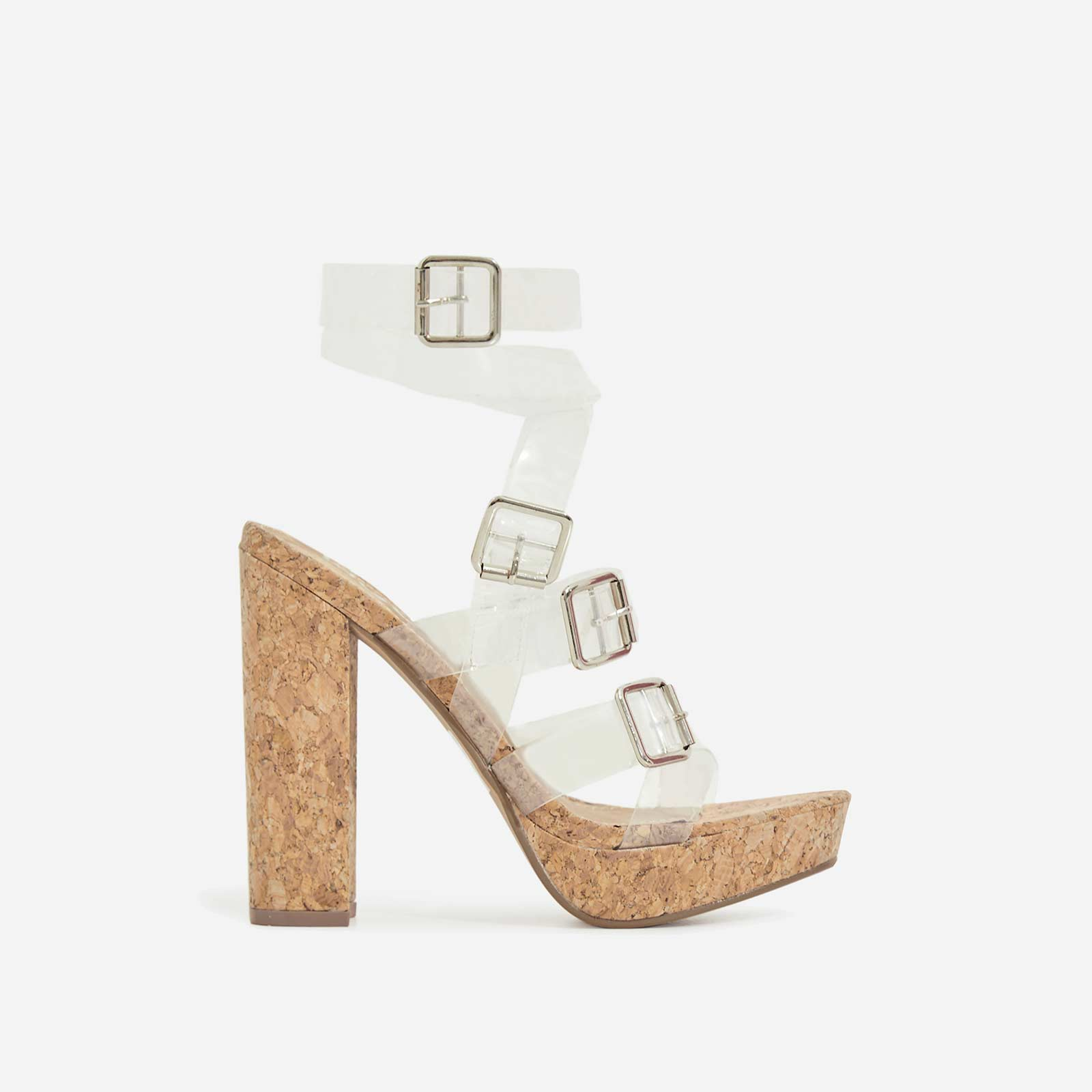 Romee Buckle Detail Perspex Platform Block Heel In Cork