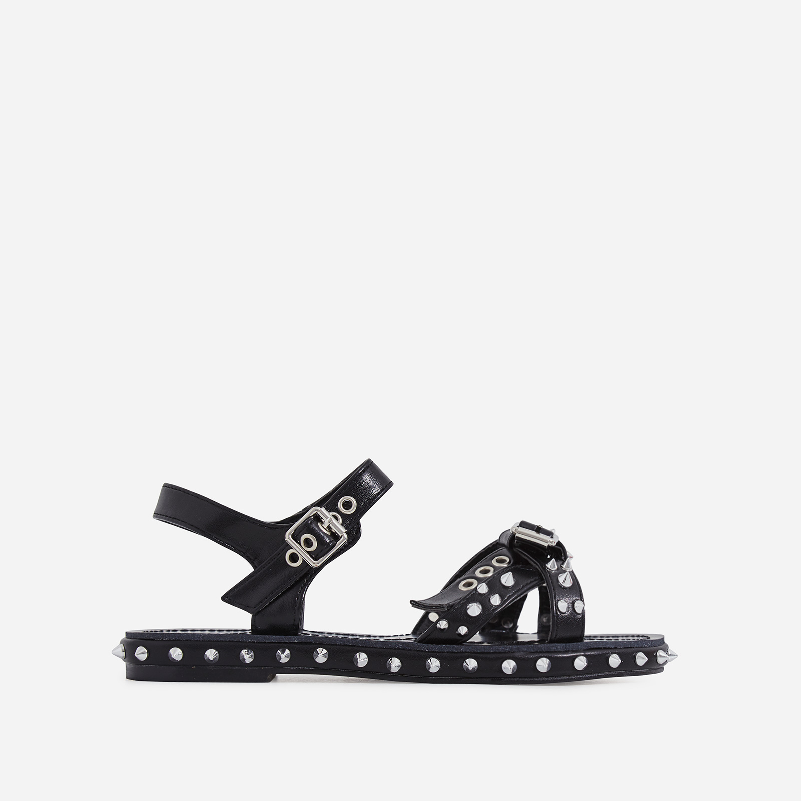 Gerry Studded Detail Sandal In Black Faux Leather