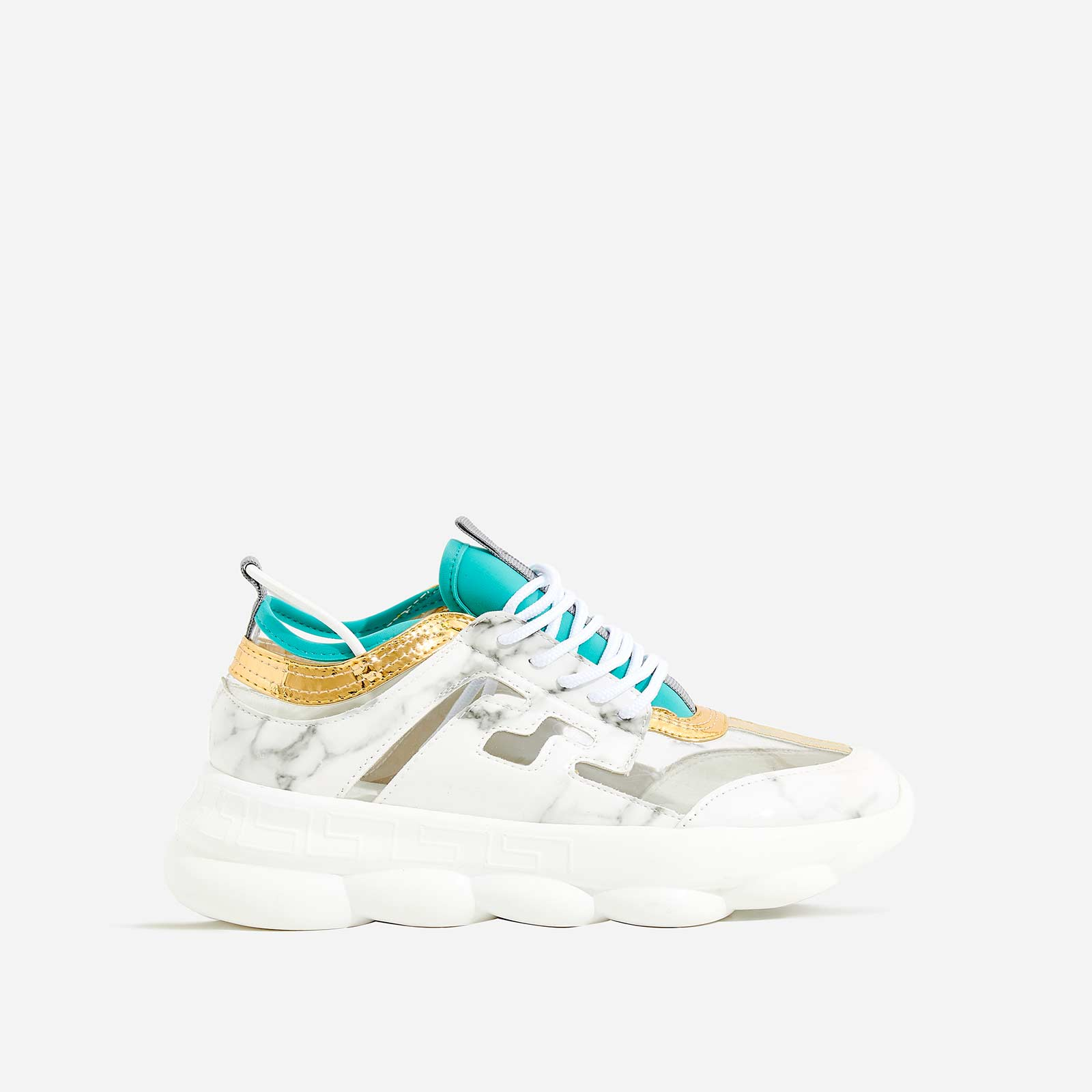 Athena Chunky Sole Trainer In White Marble Print
