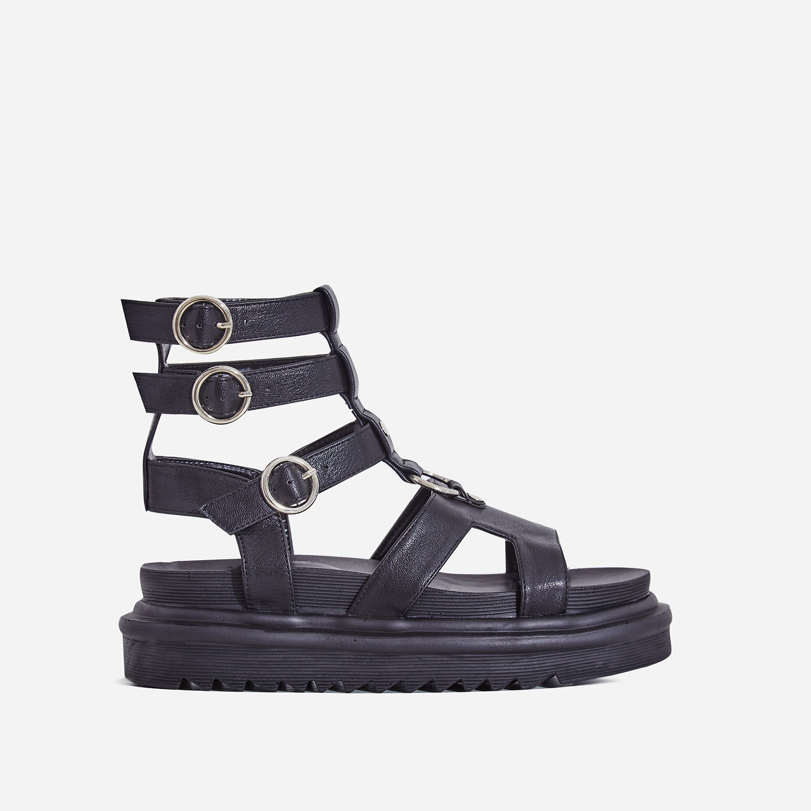 Gladys Chunky Sole Gladiator Sandal In Black Faux Leather