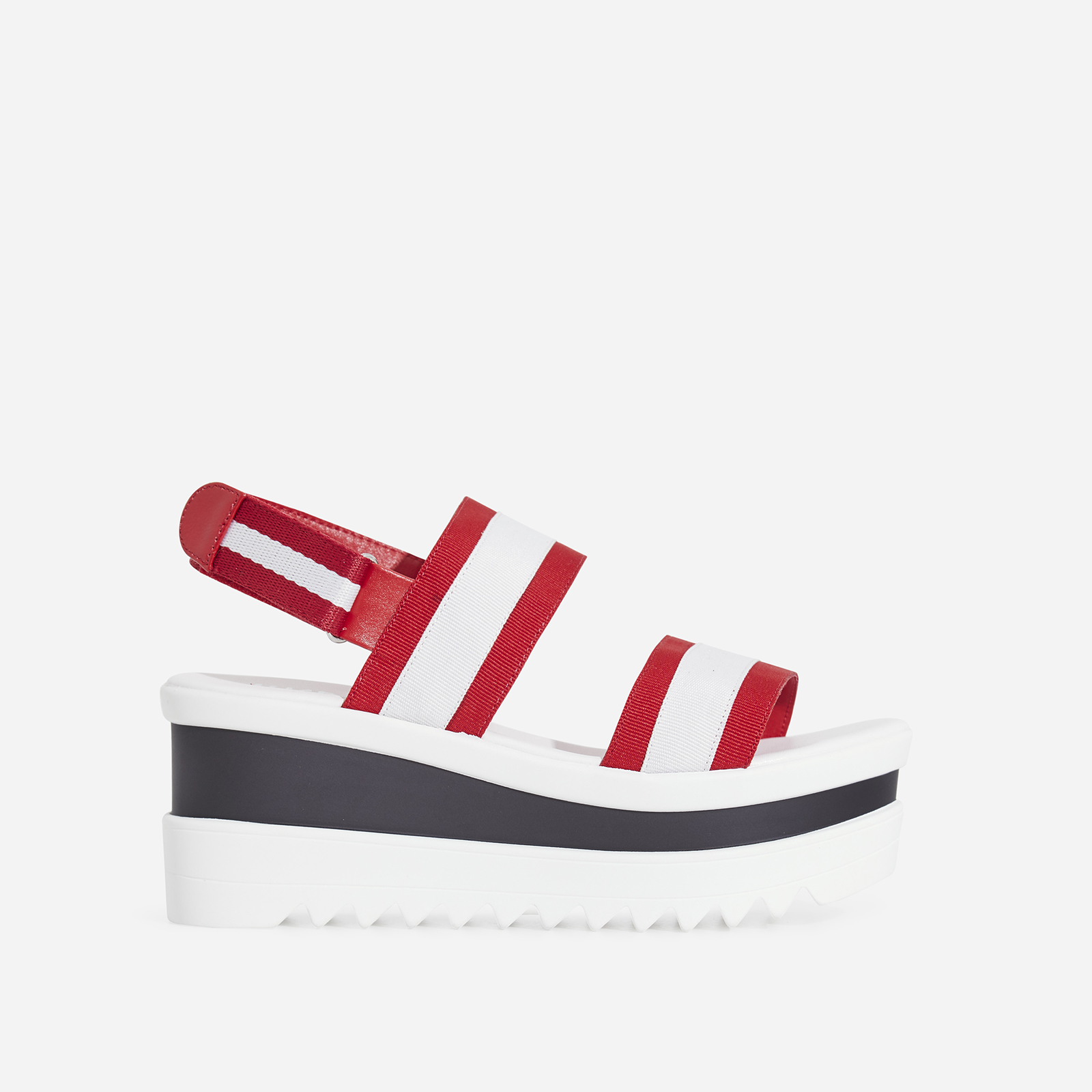 Hani Chunky Sole Sandal In Red Grosgrain