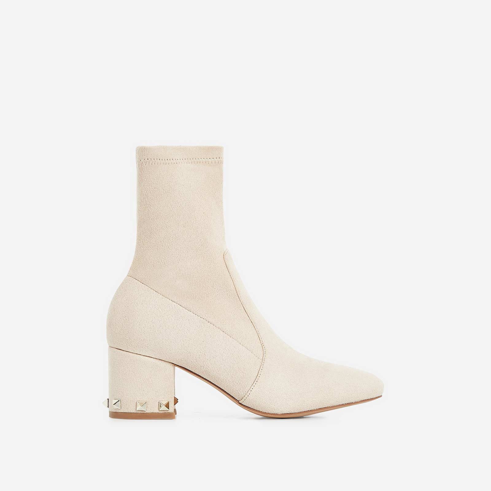 Harper Studded Detail Ankle Boot In Nude Faux Suede